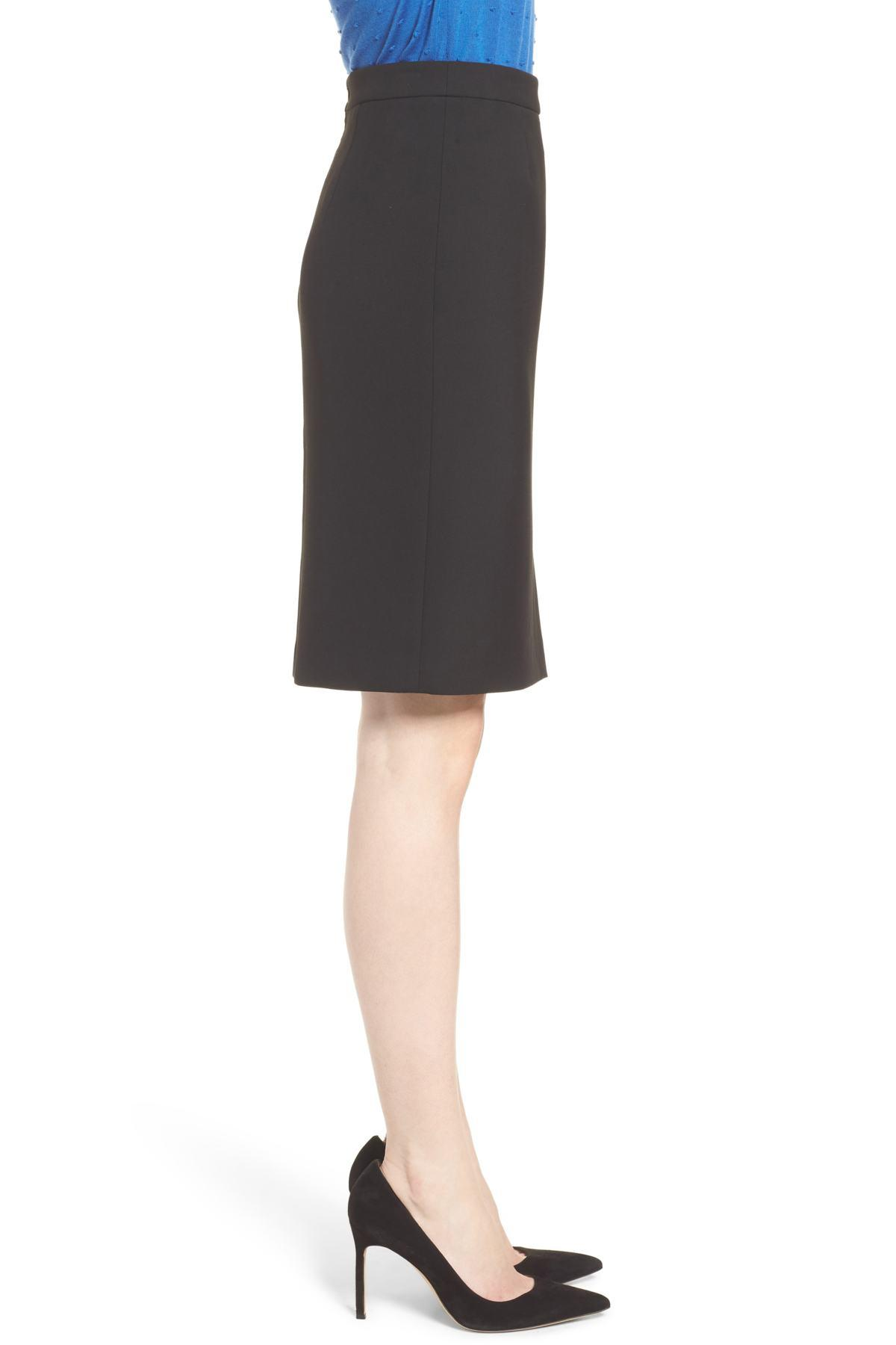 0304d64b Lyst - BOSS Volania Ponte Slit Pencil Skirt in Black - Save 35%