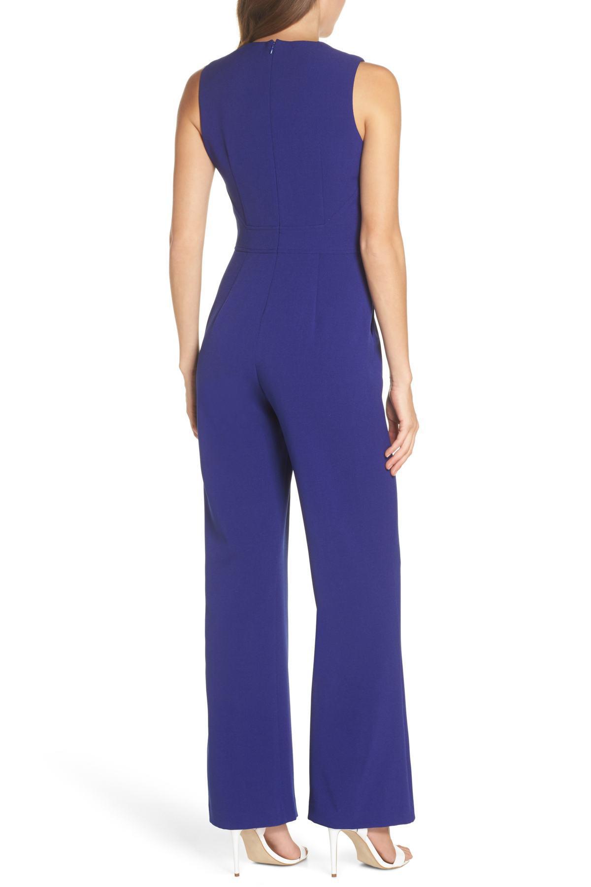 dd28b374f01 Vince Camuto - Blue Tie Waist Crepe Jumpsuit (regular   Petite) - Lyst.  View fullscreen