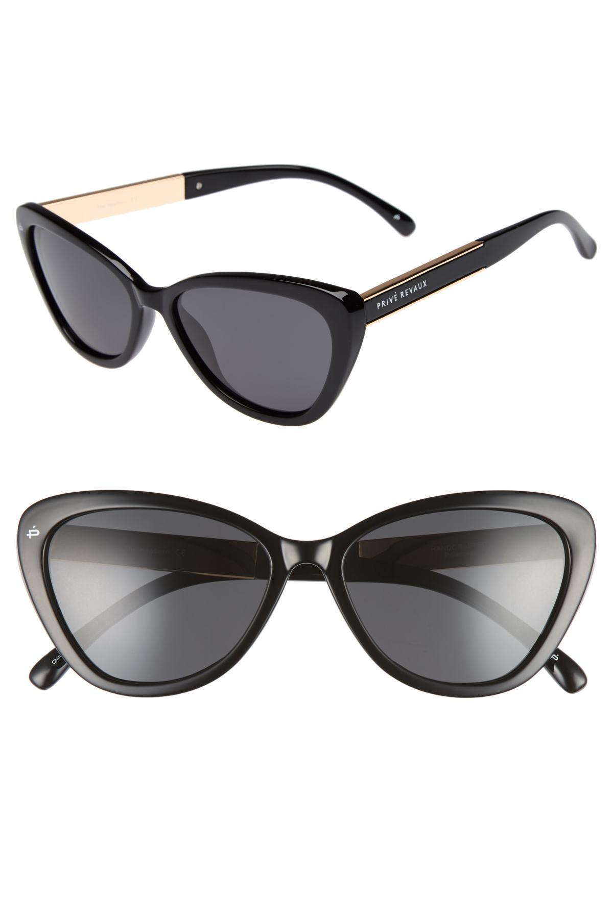 a7402c696bc Lyst - Privé Revaux The Hepburn 56mm Cat Eye Sunglasses in Black