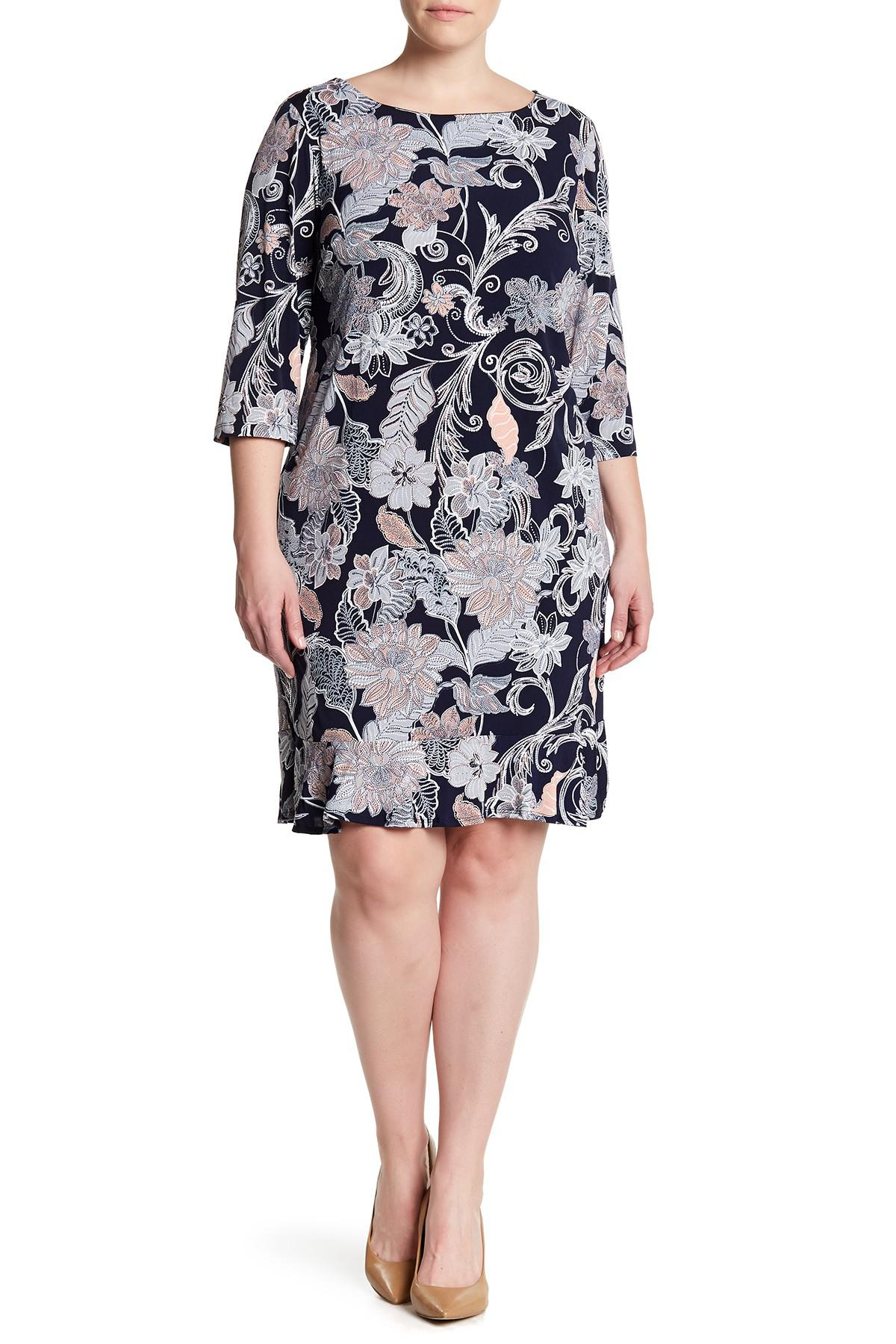 89cf4609147 Lyst - Sandra Darren Textured Floral Dress (plus Size)