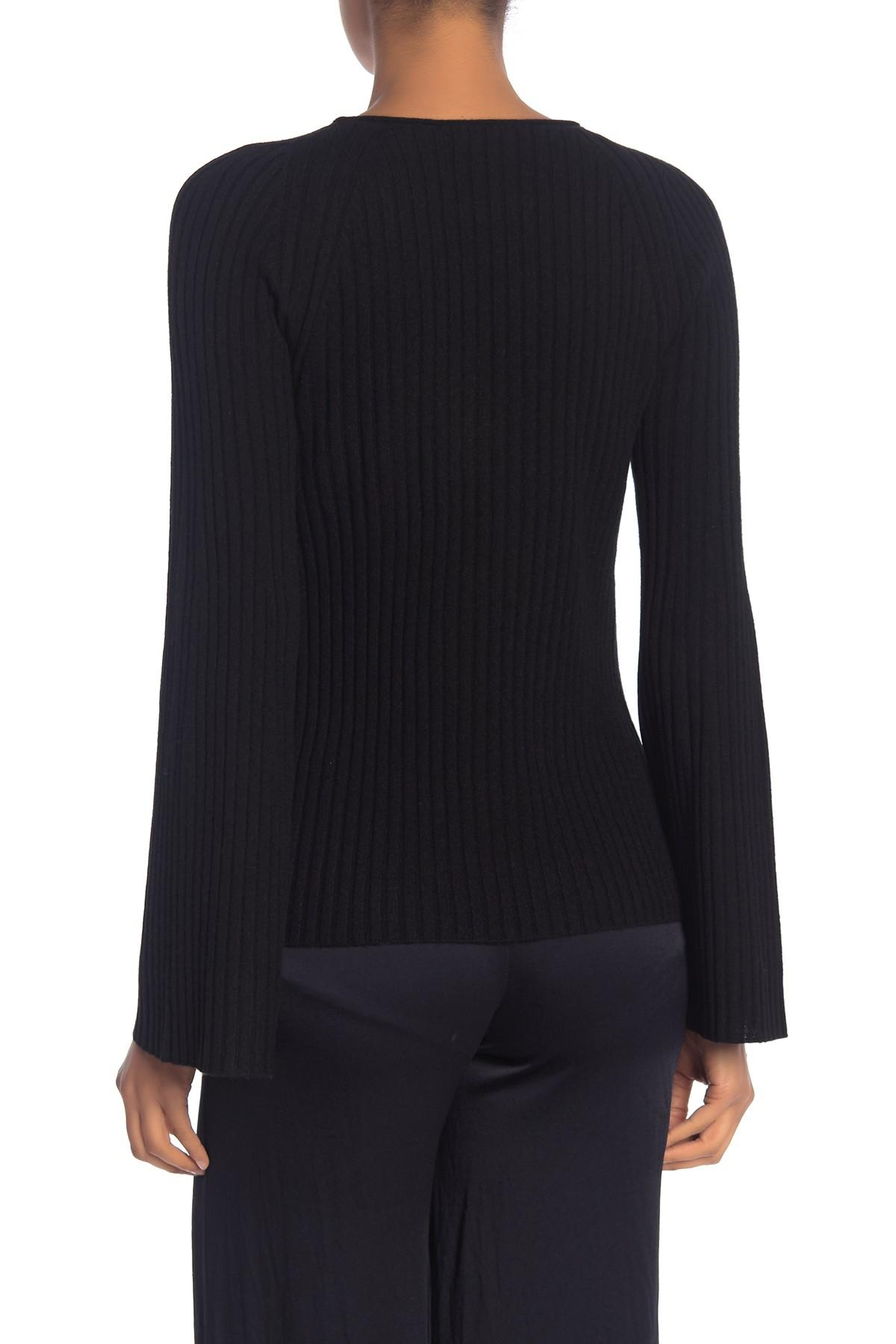 bf54bbefbb3 Vince - Black Ribbed Cutout Cashmere Sweater - Lyst. View fullscreen