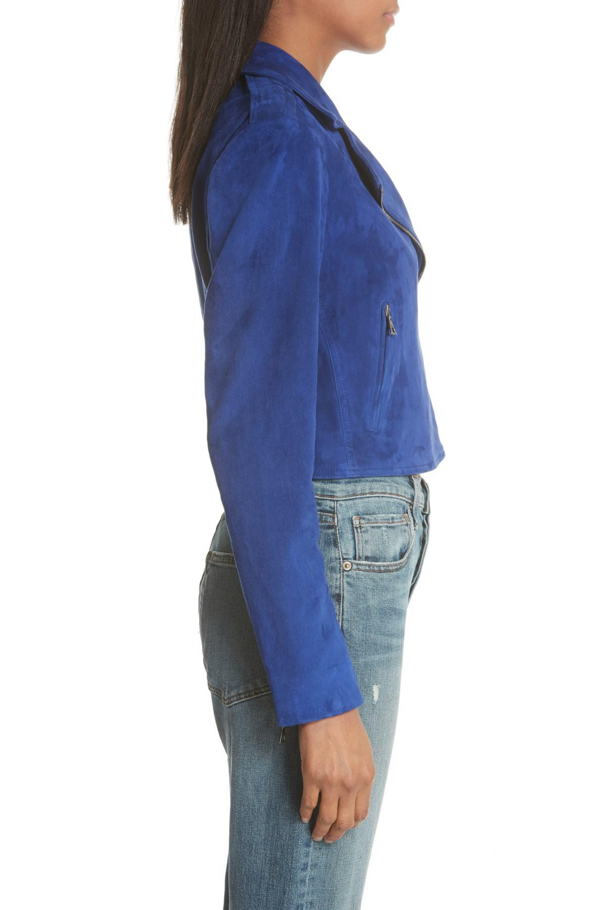 c5d17f3d59 Theory Sanda L Lamb Suede Moto Jacket in Blue - Lyst