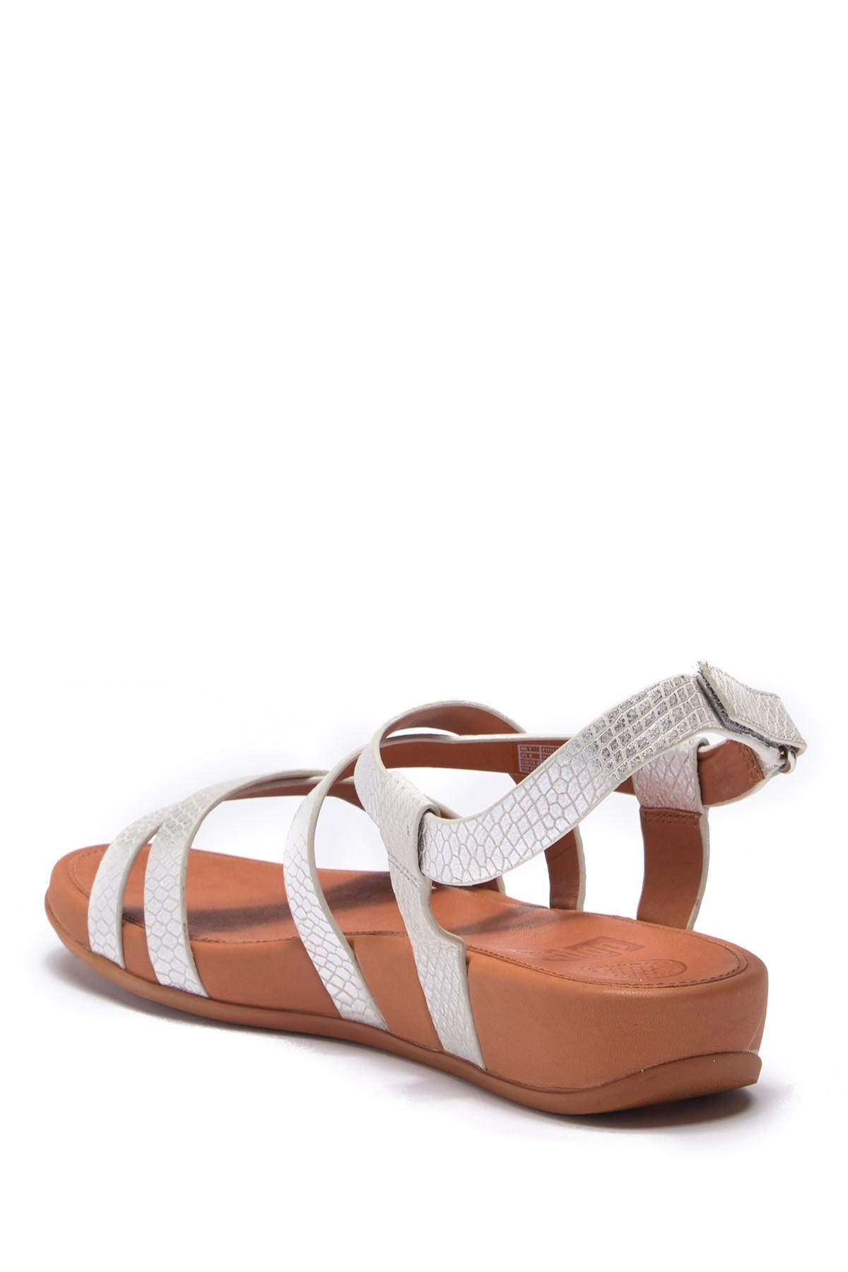 7f421e69a0d2 Fitflop - Metallic Lumy Shimmersnake Embossed Sandal - Lyst. View fullscreen