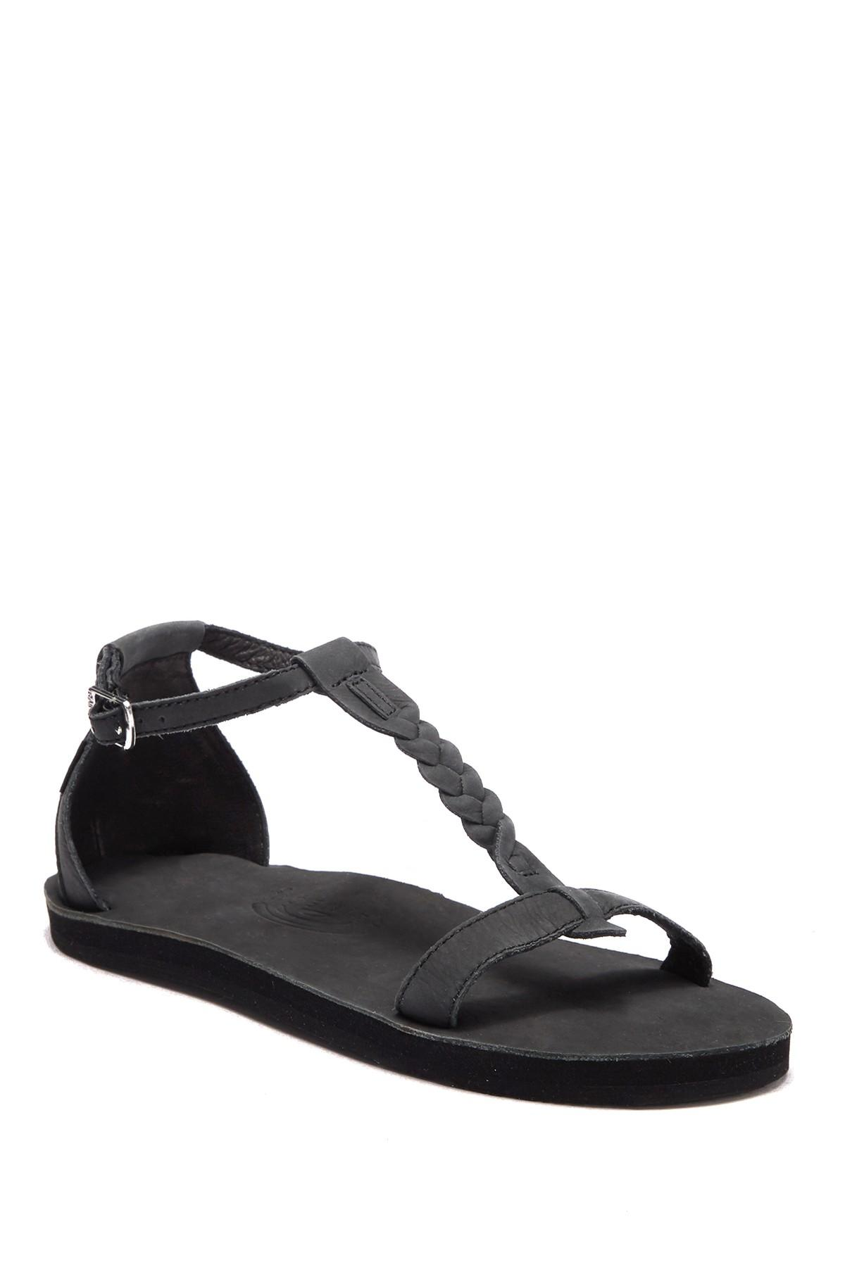 de3cb824cdb Lyst - Rainbow Sandals Calafia Single Layer Center Braid Heel in Black