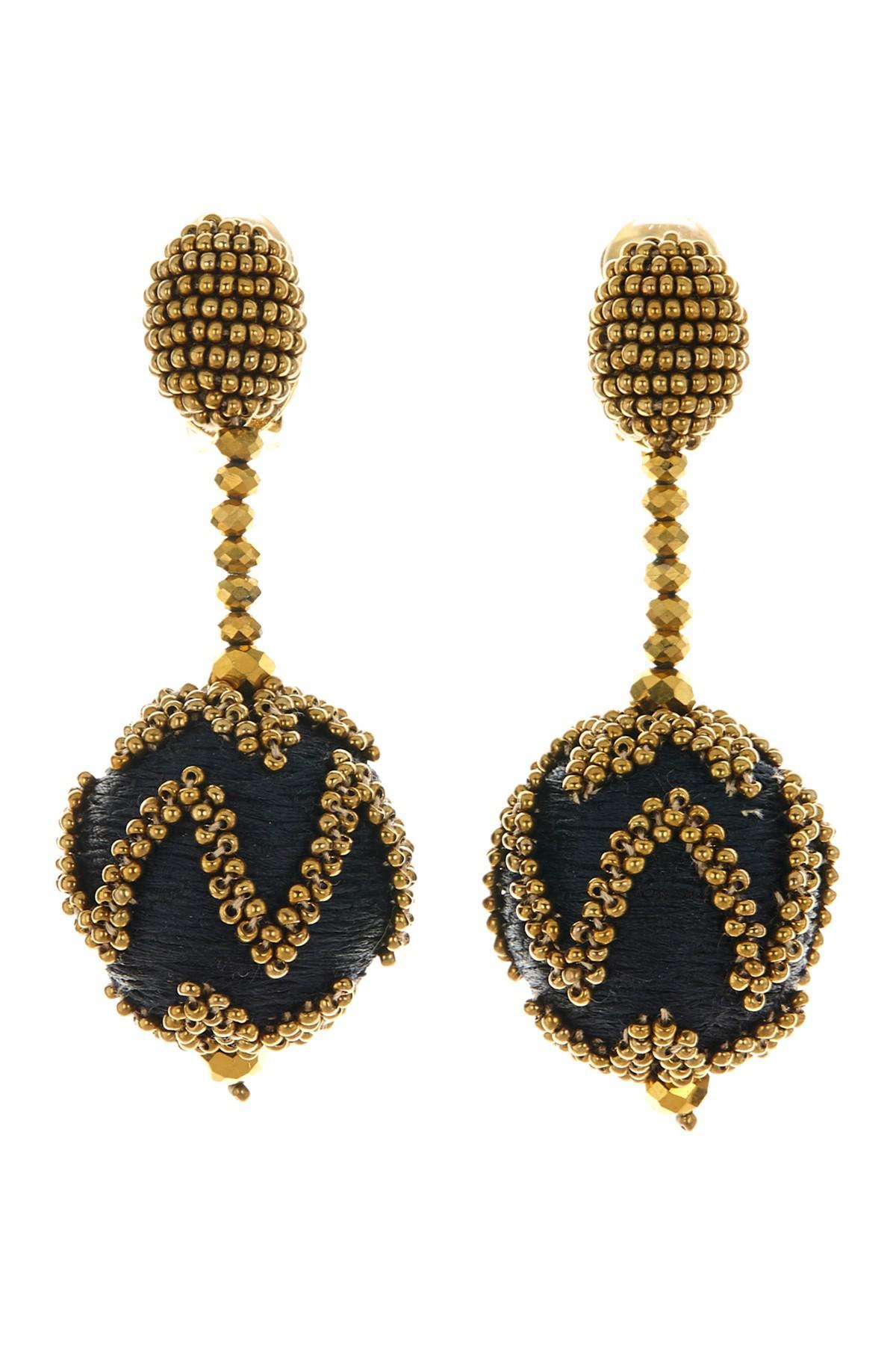 Oscar De La Renta Beaded Ball Tassel Clip-On Earrings 3Z3skfhIg