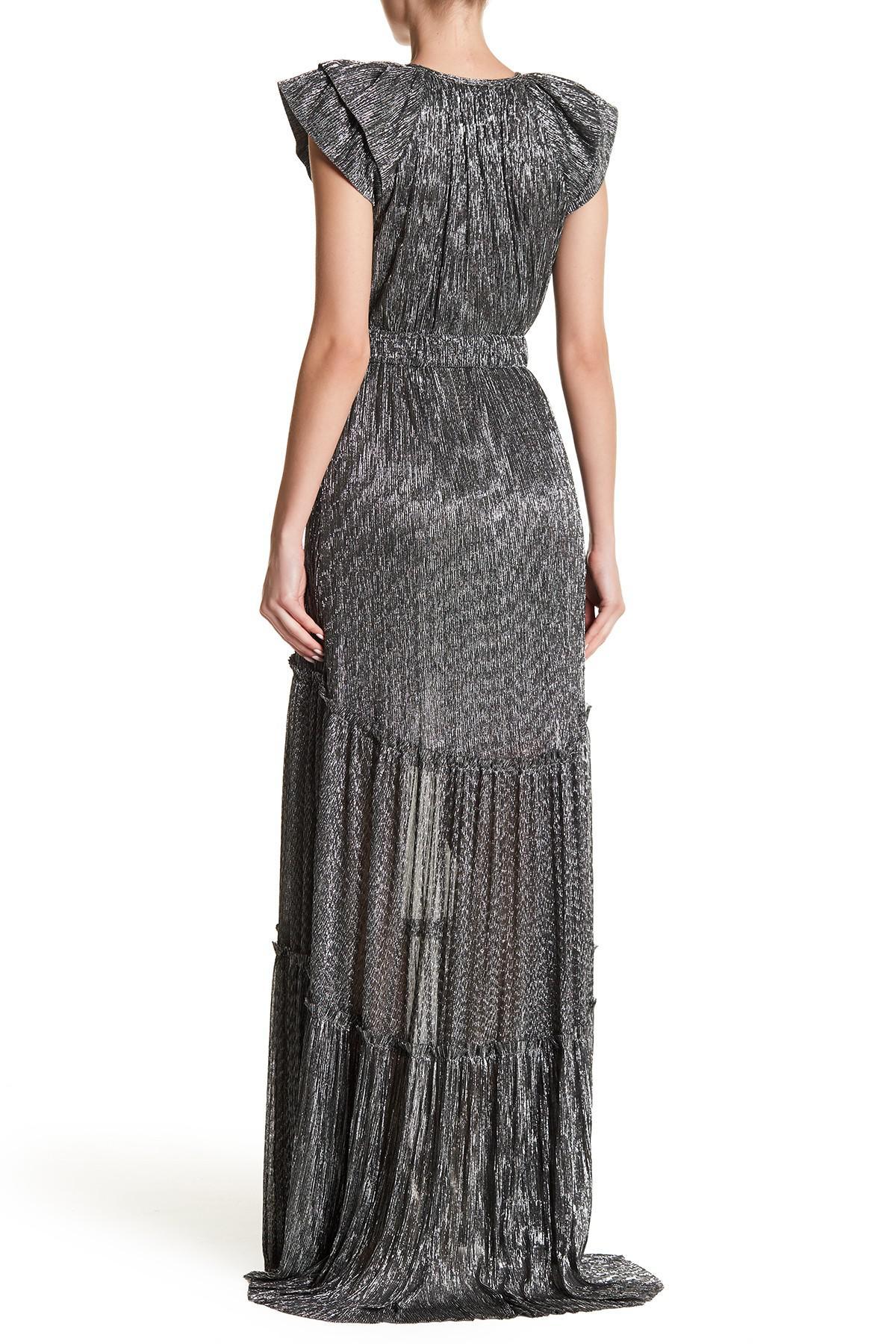 Lyst - Sabina Musayev Miley Metallic Ruffle Dress in Metallic