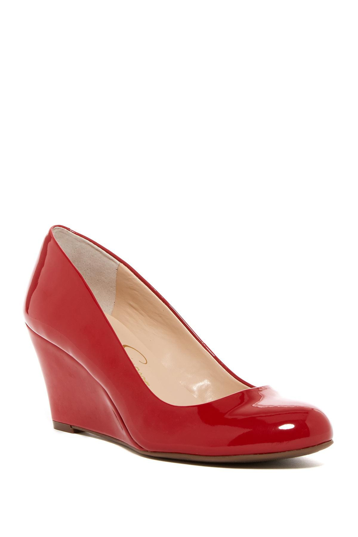 41087f070f2 Jessica Simpson. Women s Red Suzanna Wedge Pump - Multiple Widths Available