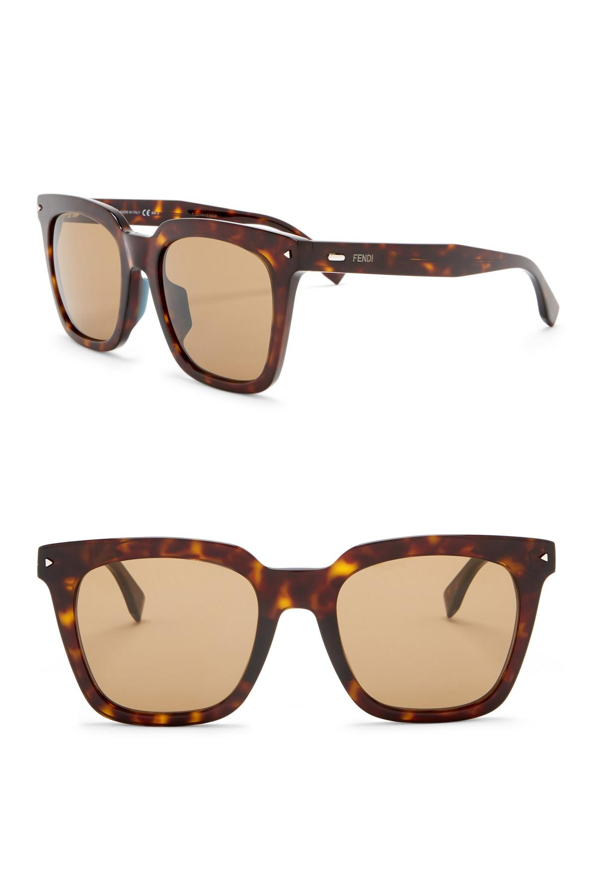 efe03dc9cd3 Lyst - Fendi Modified Rectangle 53mm Sunglasses in Brown for Men