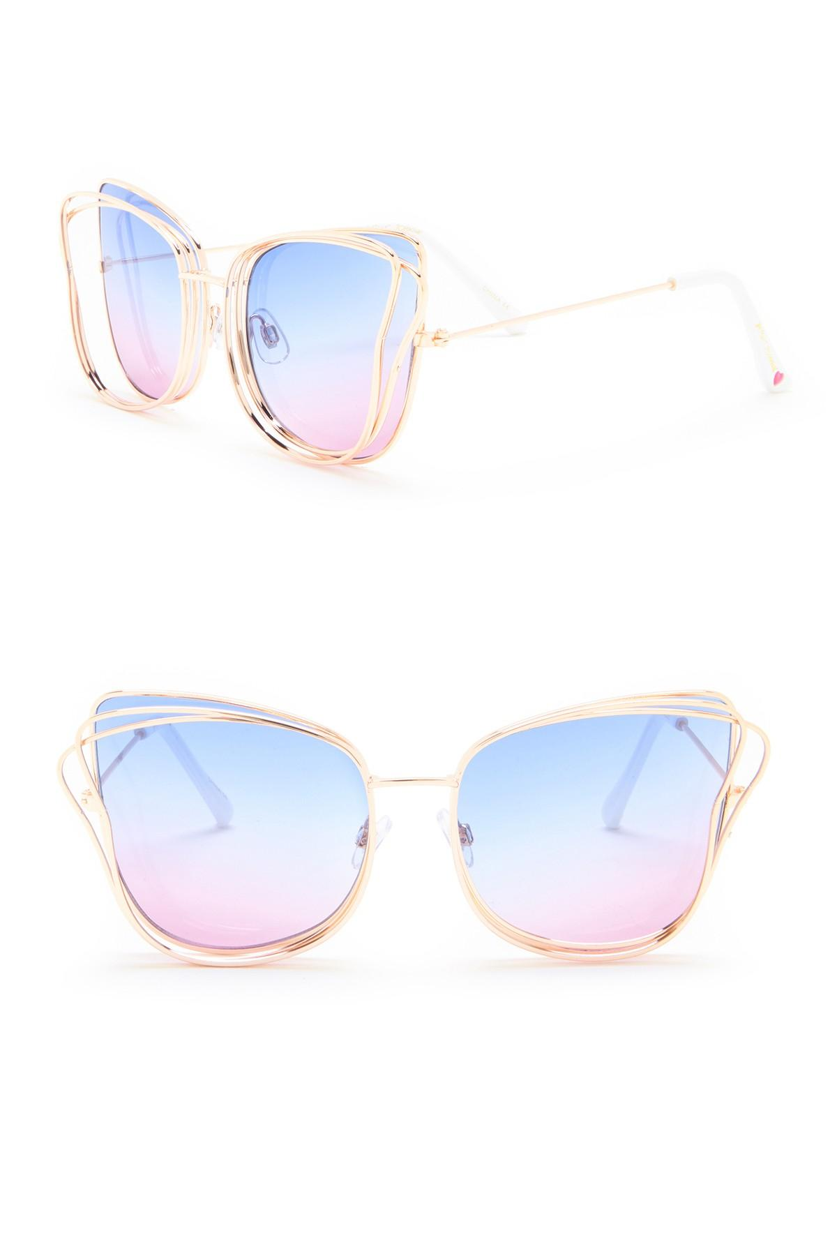 6da4357cba382 Betsey Johnson 3-d Cat Eye Sunglasses in Blue - Lyst