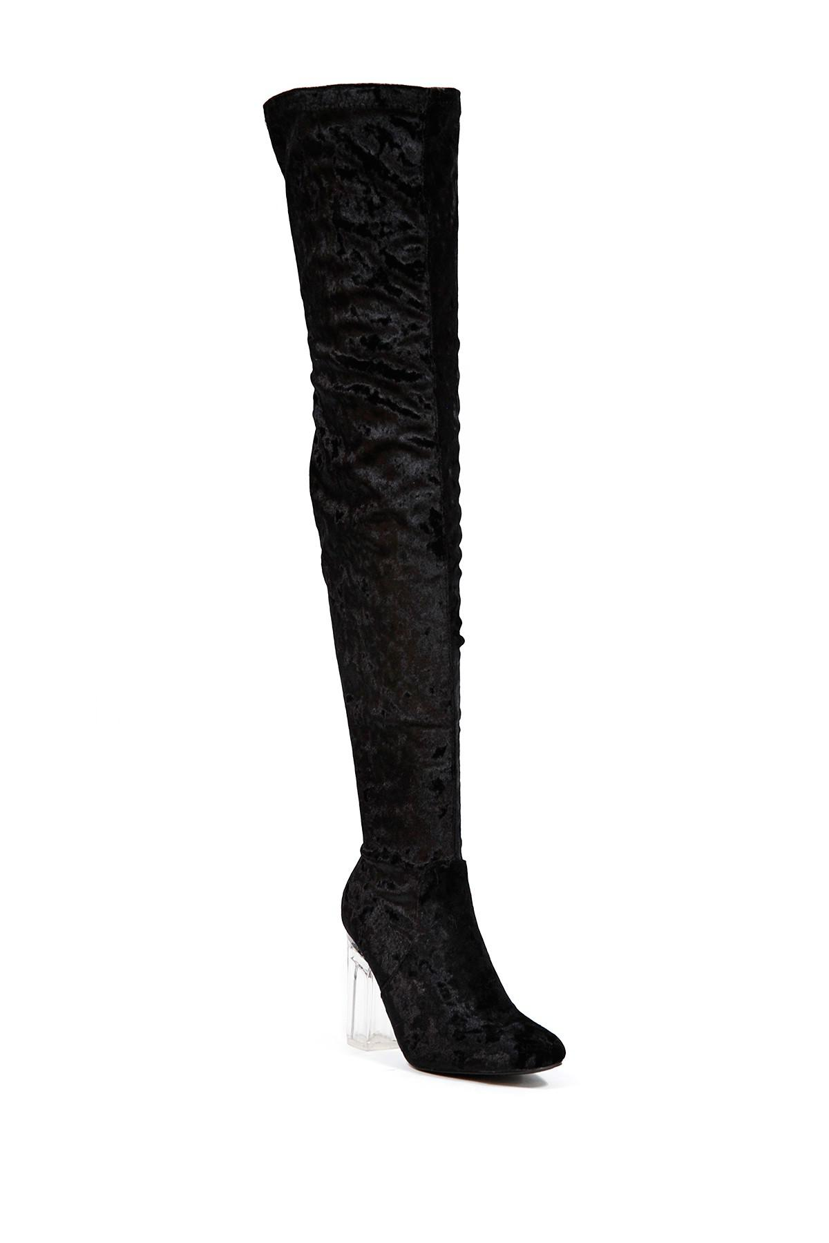 Cape Robbin Fay Over-the-Knee Clear Heel Boot shKR96QdTg