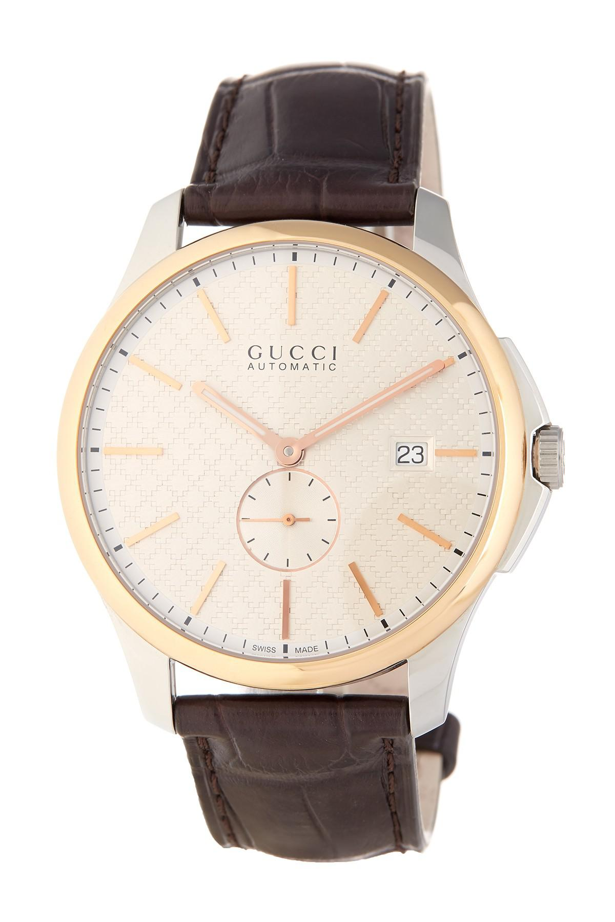 b6243e4e508 Lyst - Gucci Men s G-timeless Automatic Croc Embossed Leather Watch ...