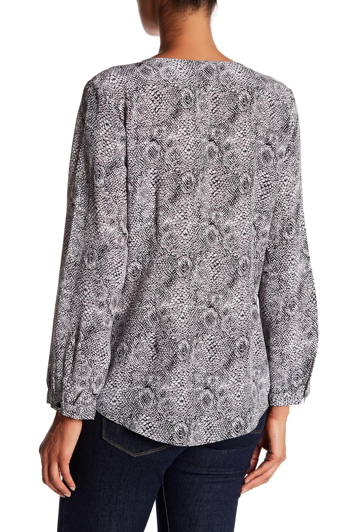 Joie Woman Purine Printed Washed-silk Top Gray Size S Joie Pictures For Sale BW9Vcz0ot