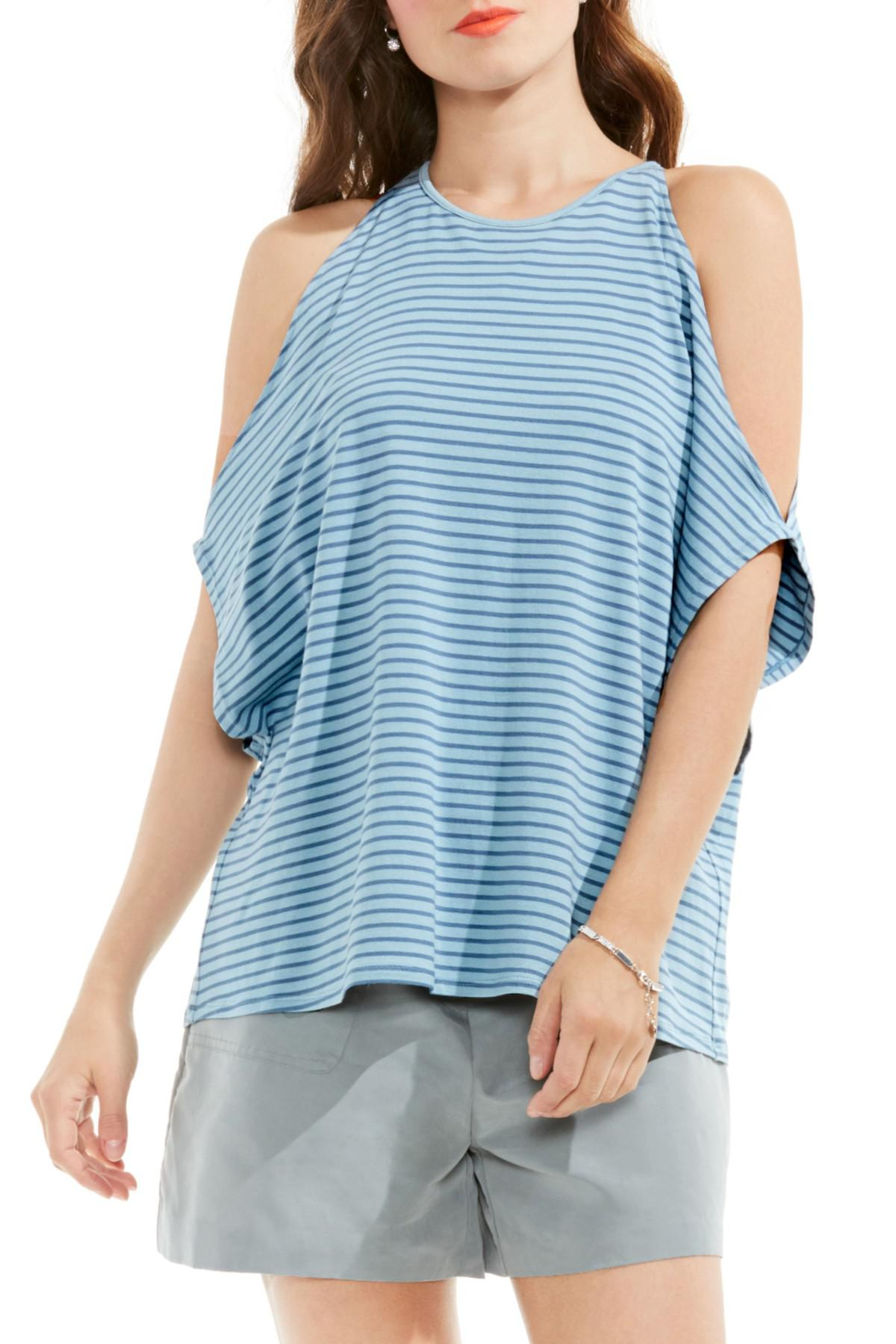 6dca96fca4ab00 Lyst - Vince Camuto Simple Stripe Cold Shoulder Top in Blue