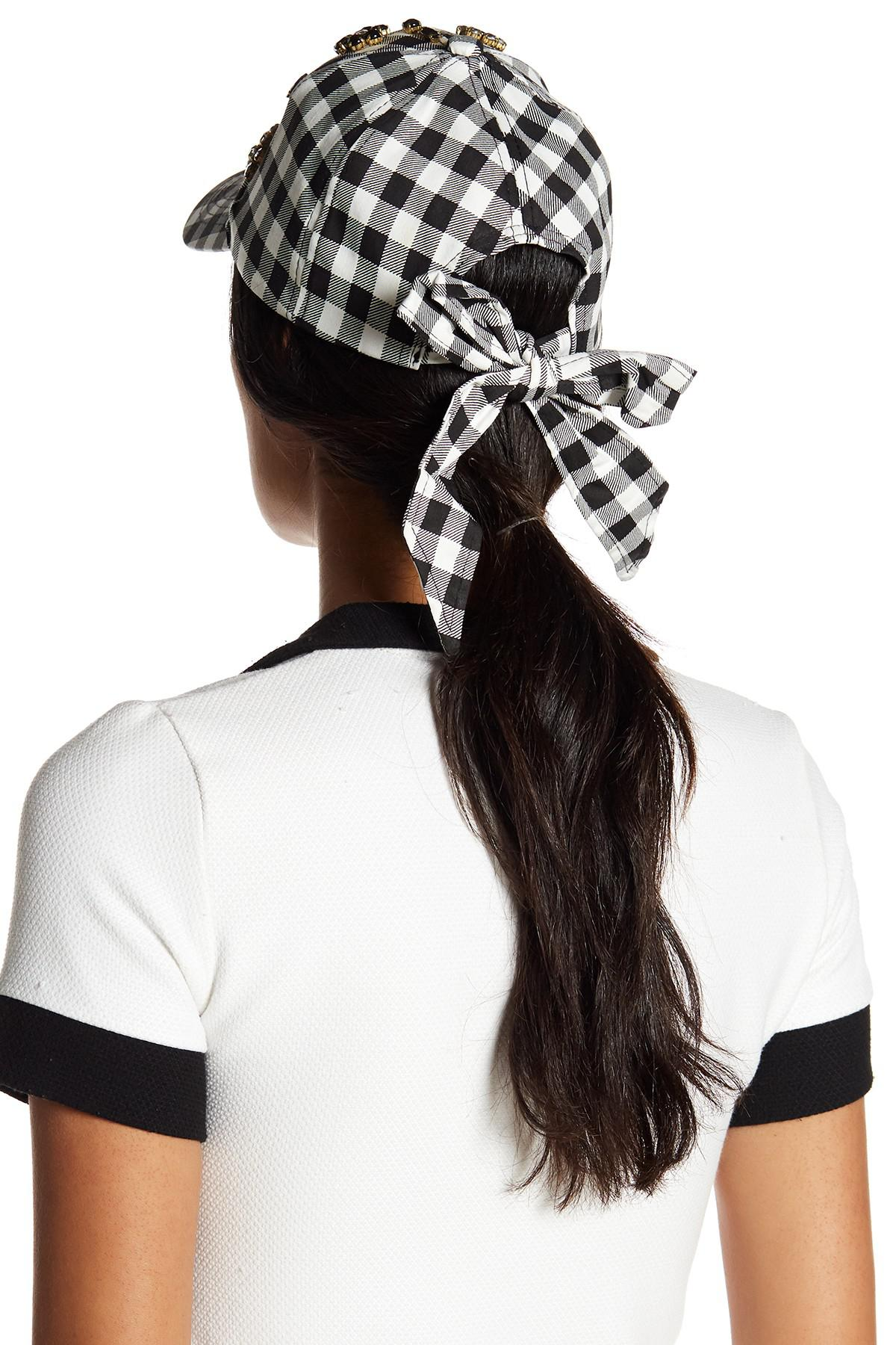Lyst - Betsey Johnson Buffalo Check Baseball Hat in Black bfc9050ac0bc