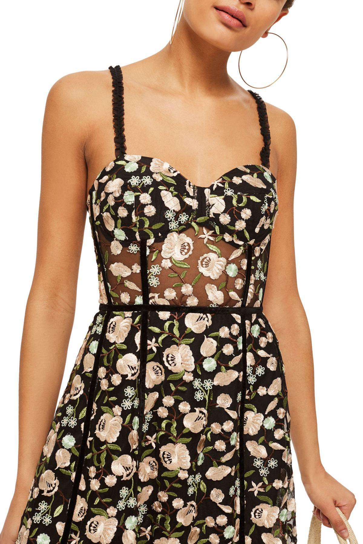 402fe3990a Lyst - TOPSHOP Floral Corset Midi Dress in Black