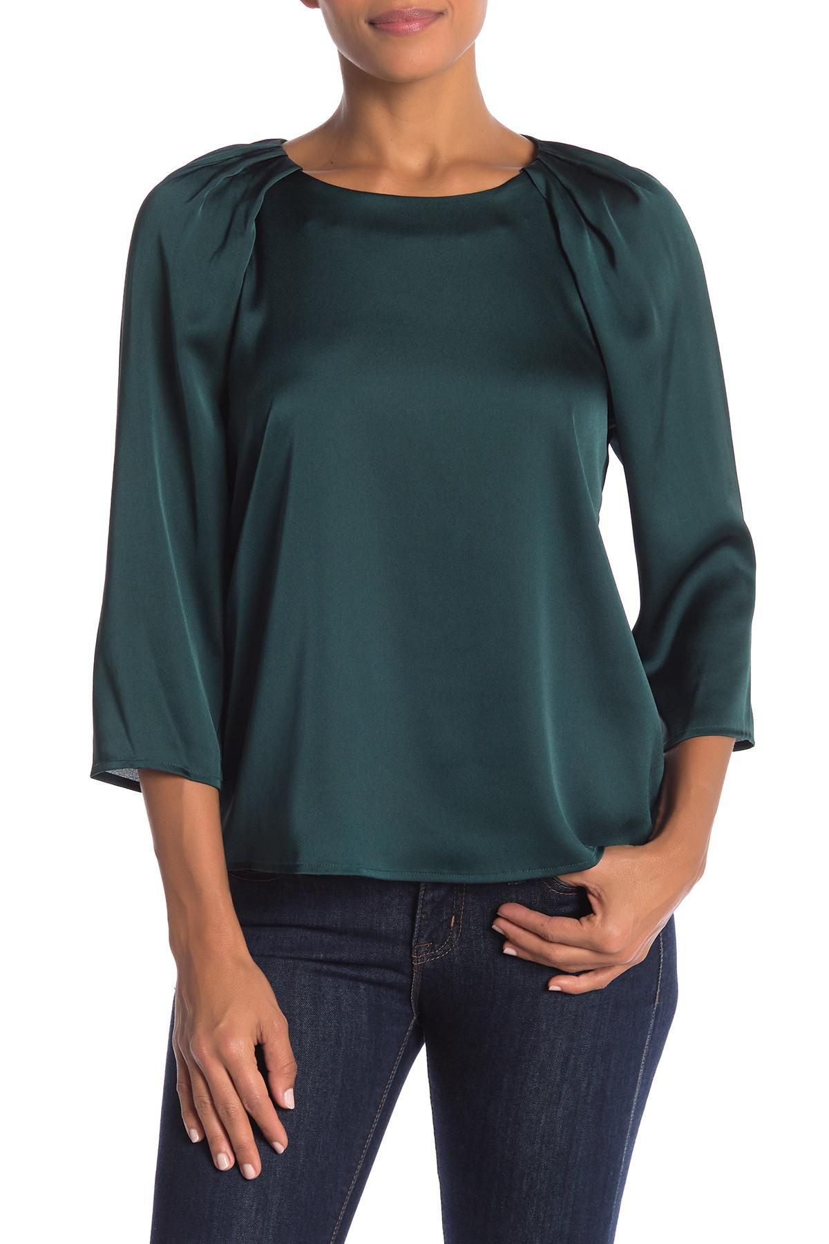 55466a4f53f98 Cece by Cynthia Steffe. Women s Green Charm Satin Blouse (regular   Plus  Size)