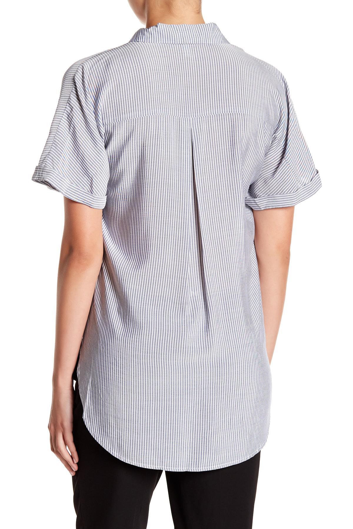 a2a0b83fa0d6 Lyst - Bcbgeneration Wrap Hem Dolman Sleeve Shirt in Blue