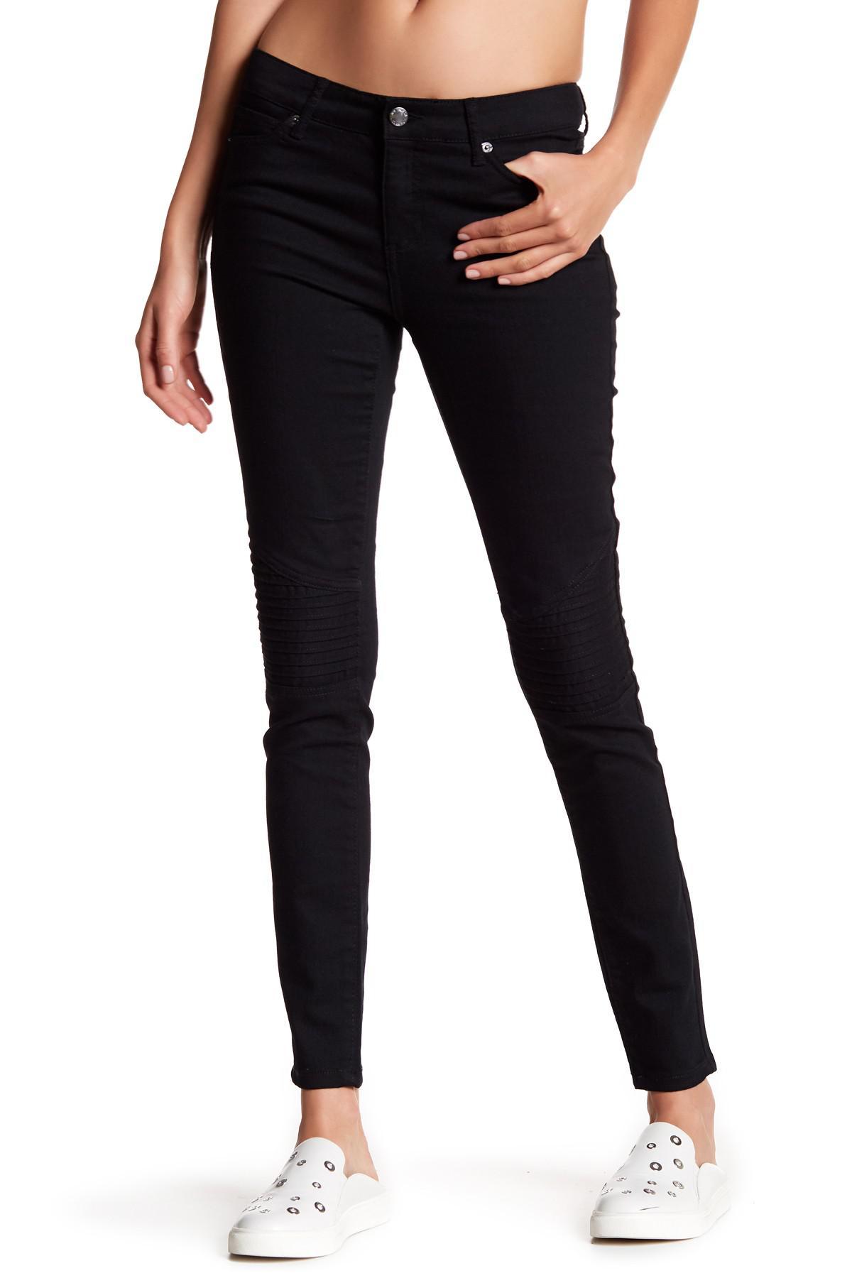 72a6dc03deb0 Lyst - Joe Fresh Twill Moto Skinny Jeans in Black