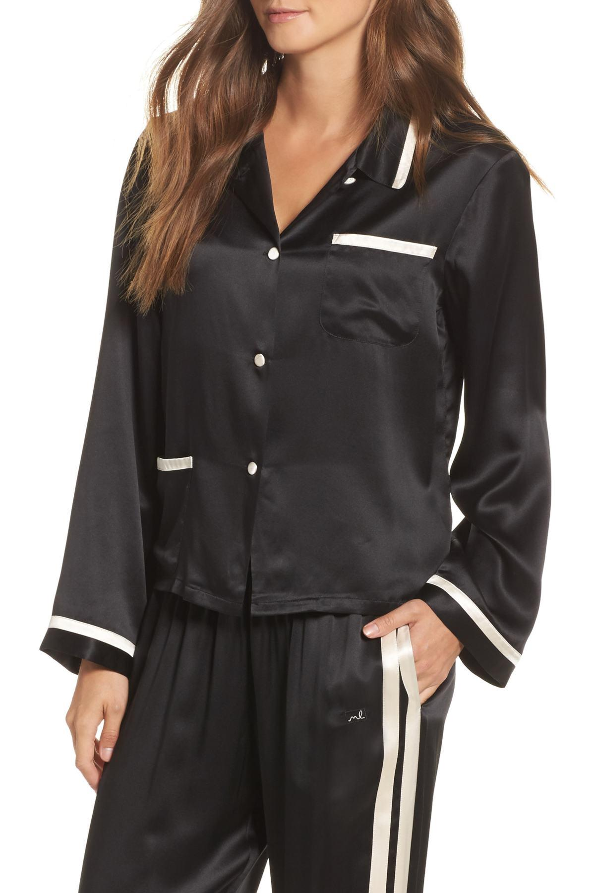 Lyst - Morgan Lane Ruthie Silk Charmeuse Pajama Top in Black ee7e8d556