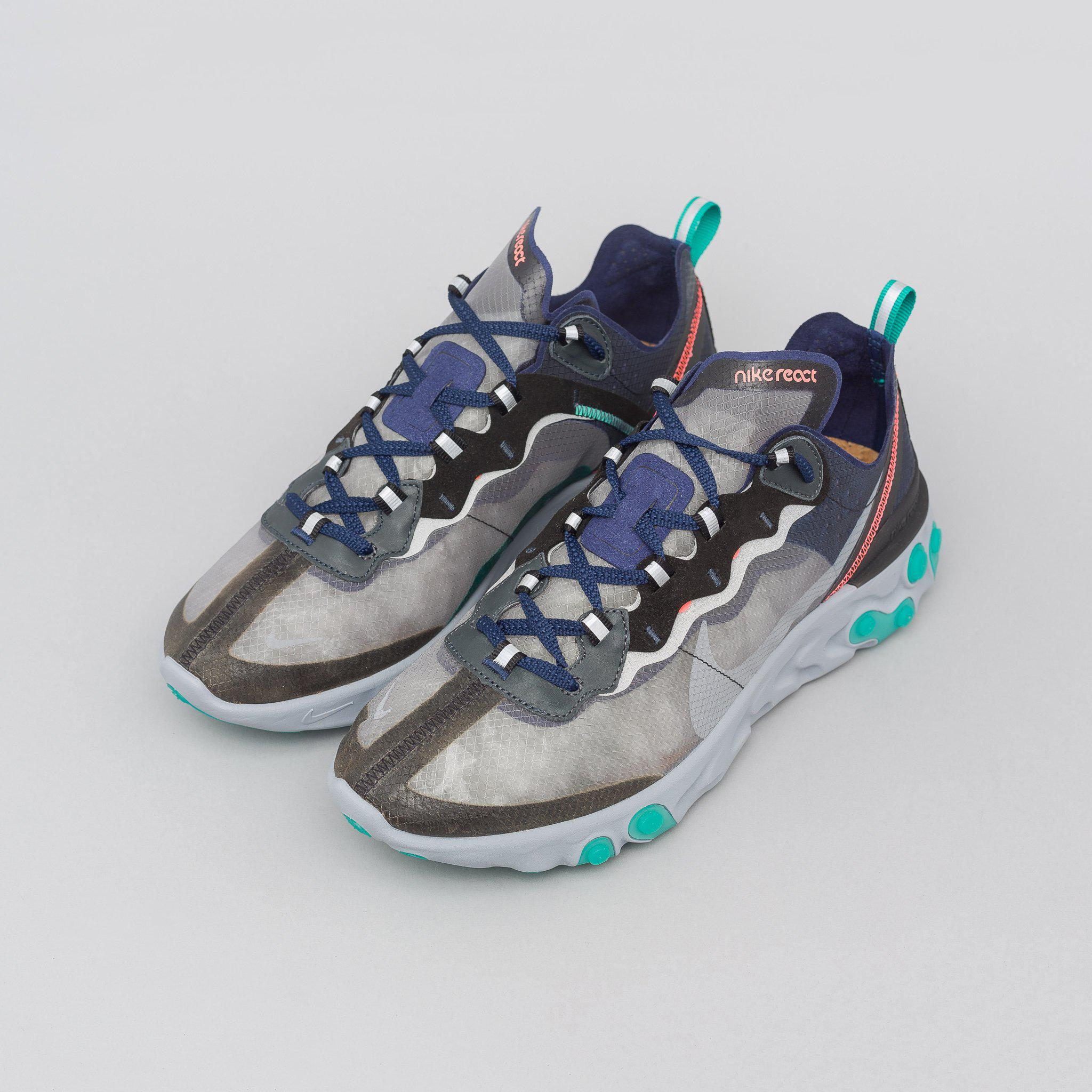 0f6a865e28a1 Lyst - Nike React Element 87 In Black midnight Navy neptune Green in ...