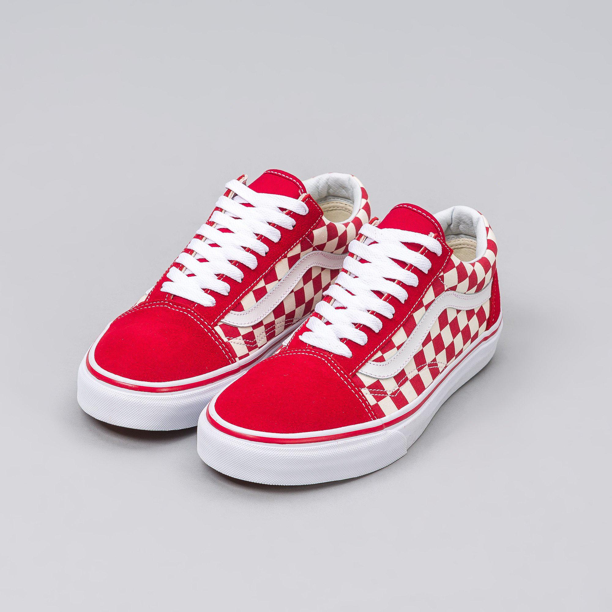 e7e6fdee1aebf0 Lyst - Vans Old Skool Checkerboard In Red white in Red for Men