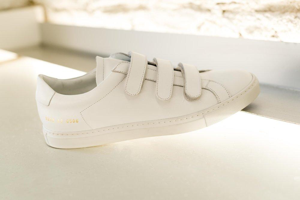 common projects achilles three strap leather low top sneakers in white for men lyst. Black Bedroom Furniture Sets. Home Design Ideas