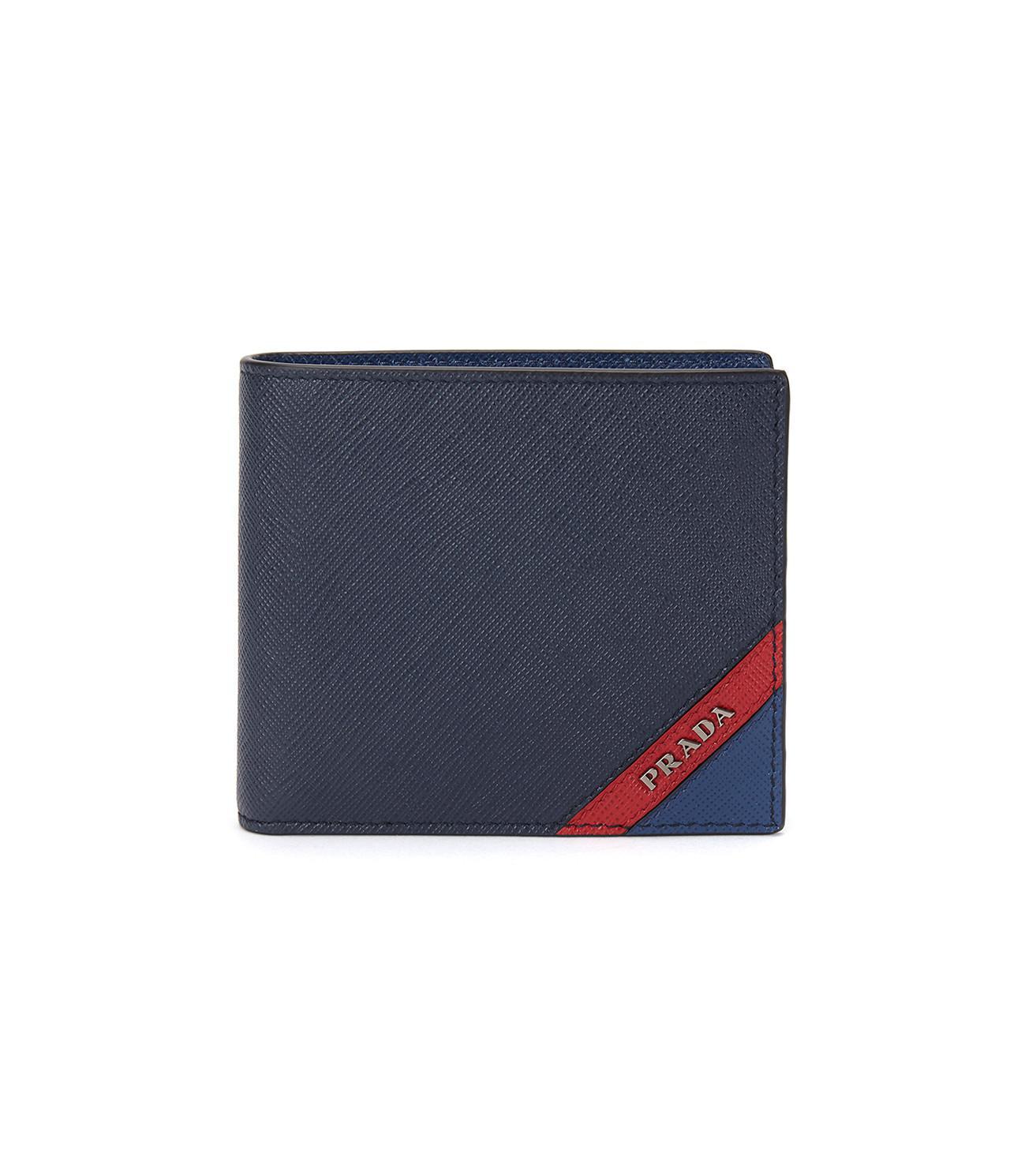 2465bbb81d9d Prada Saffiano Stripe Wallet Nero+fuoco+baltico in Blue for Men - Lyst