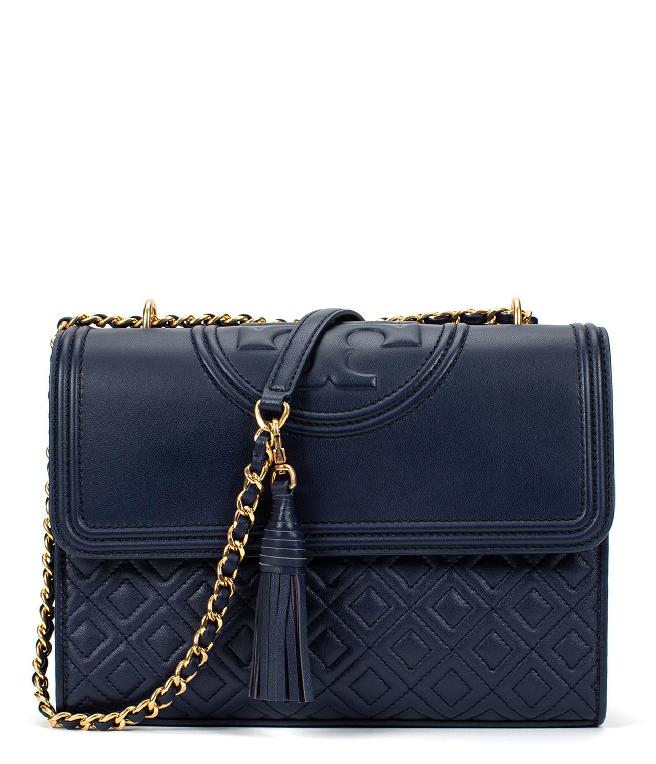 5fc5e4fef37f Tory Burch Fleming Convertible Shoulder Bag in Blue - Lyst