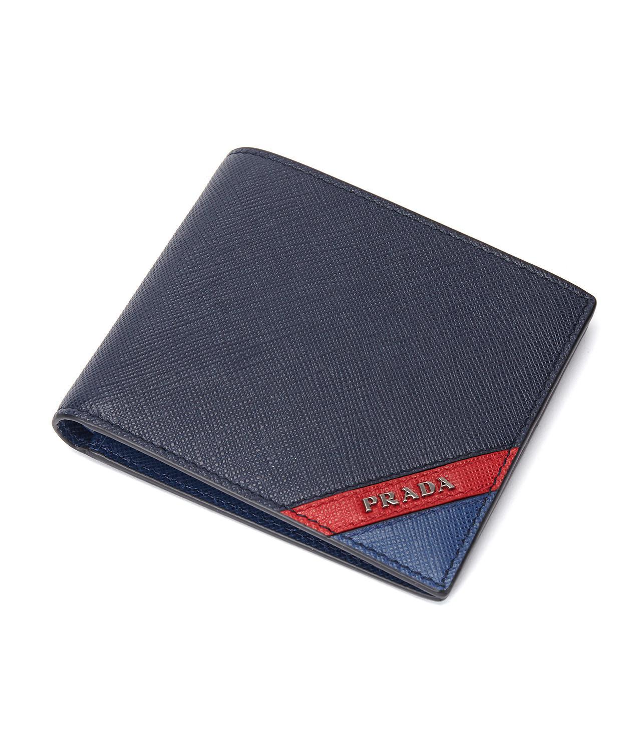 ee222b21e989 Prada - Blue Saffiano Stripe Wallet Nero+fuoco+baltico for Men - Lyst. View  fullscreen