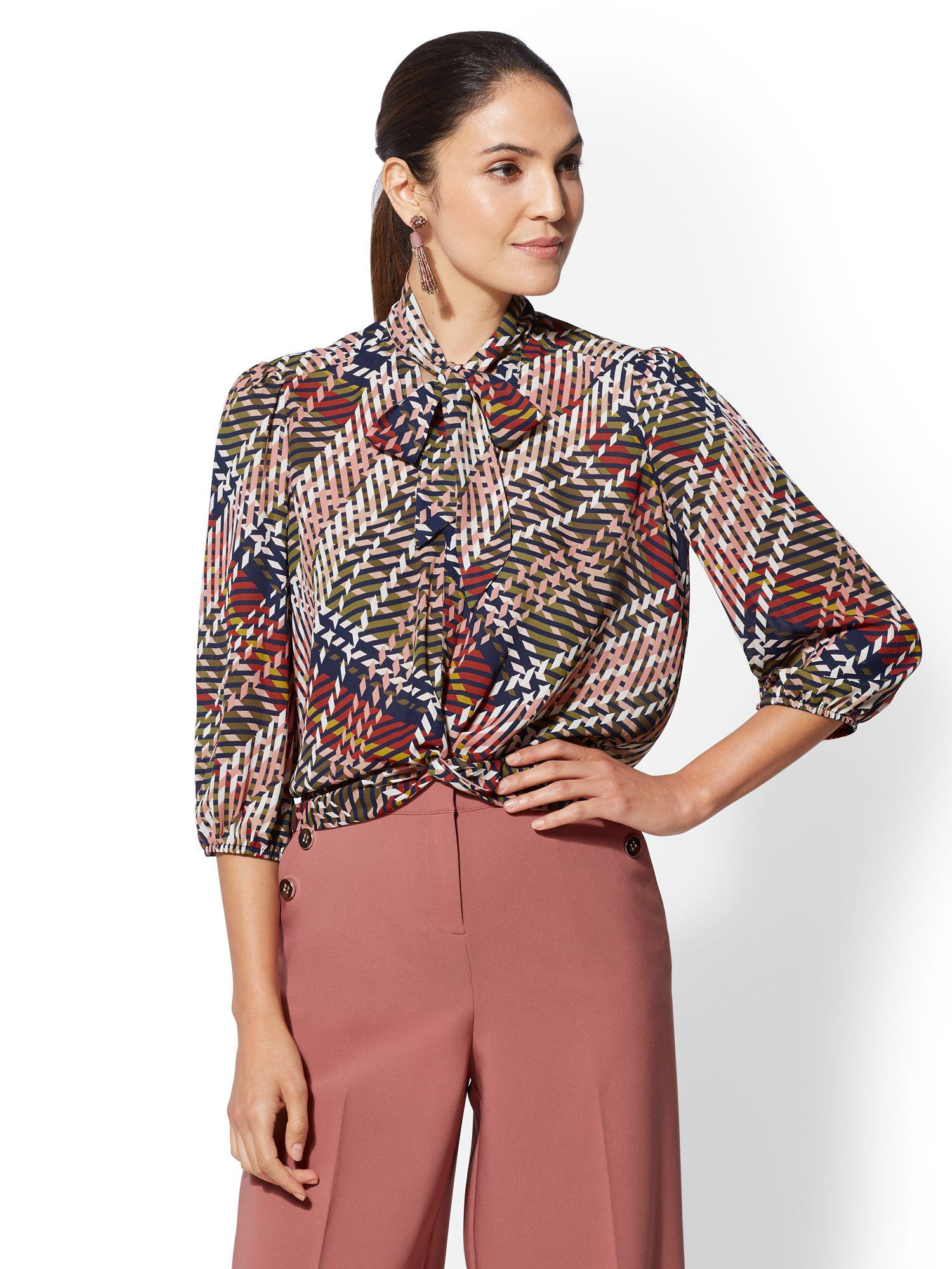 423fbad9df7d46 New York & Company 7th Avenue - Petite Twist-front Tie-neck Blouse ...