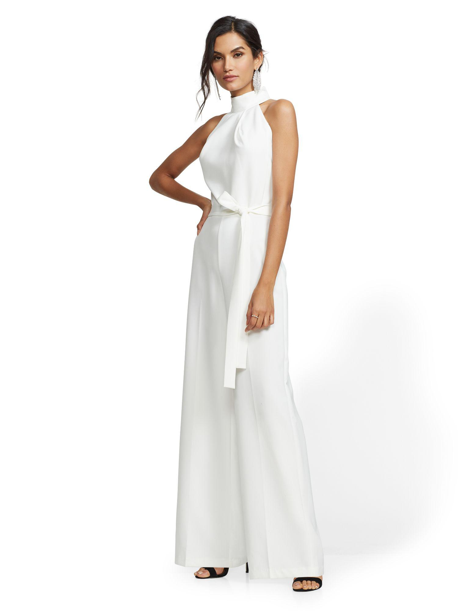 Lyst New York Company Petite Belted Halter Jumpsuit In White