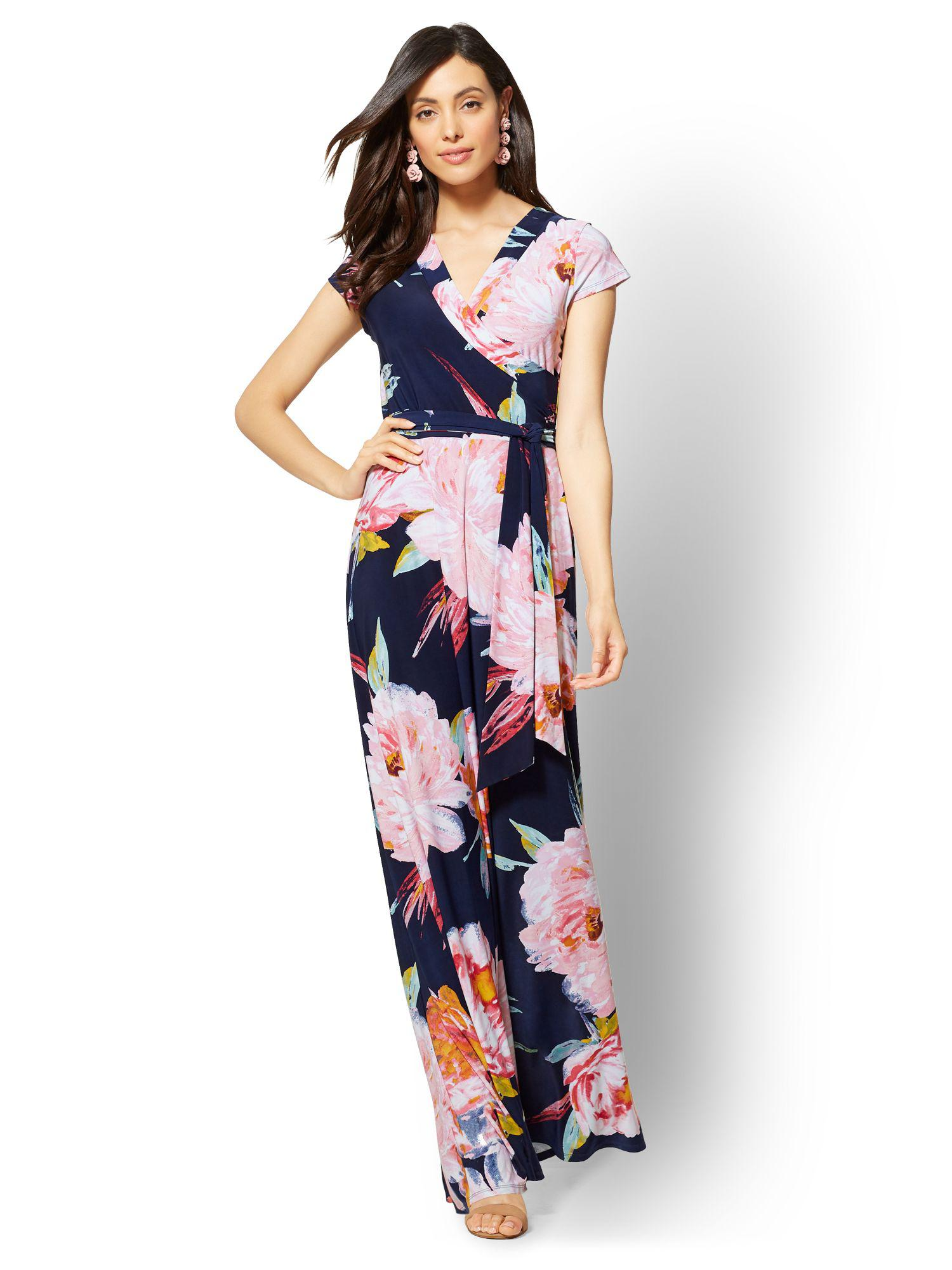 Lyst New York Company Navy Floral Maxi Dress In Blue