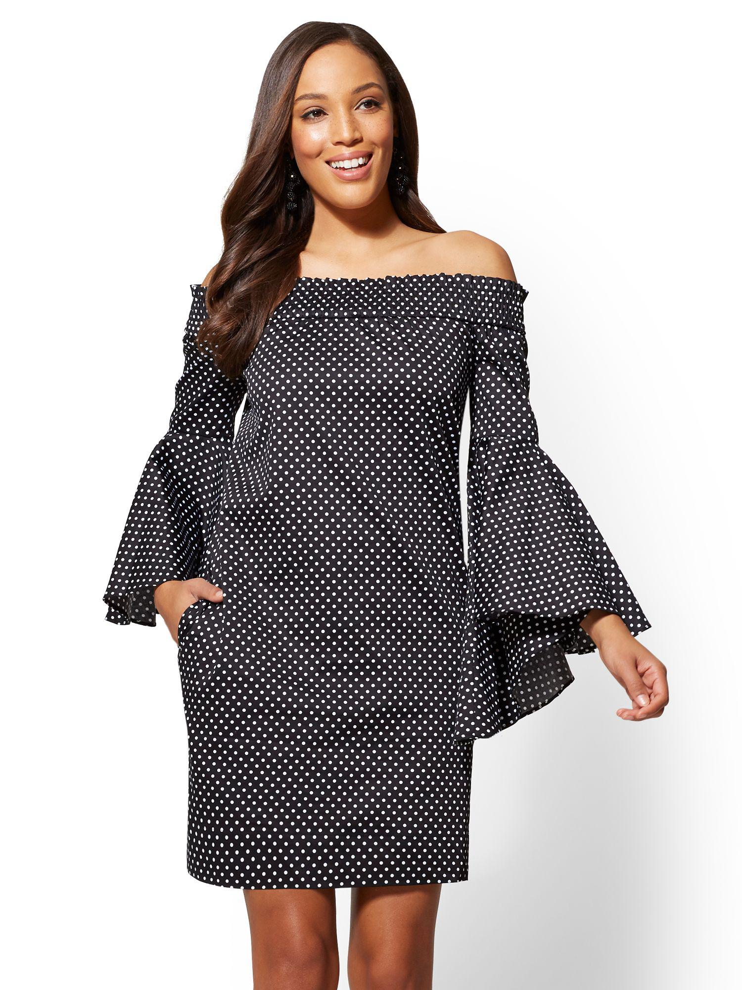 0f5f04bcd50 New York & Company Printed Off-the-shoulder Bell-sleeve Shift Dress ...