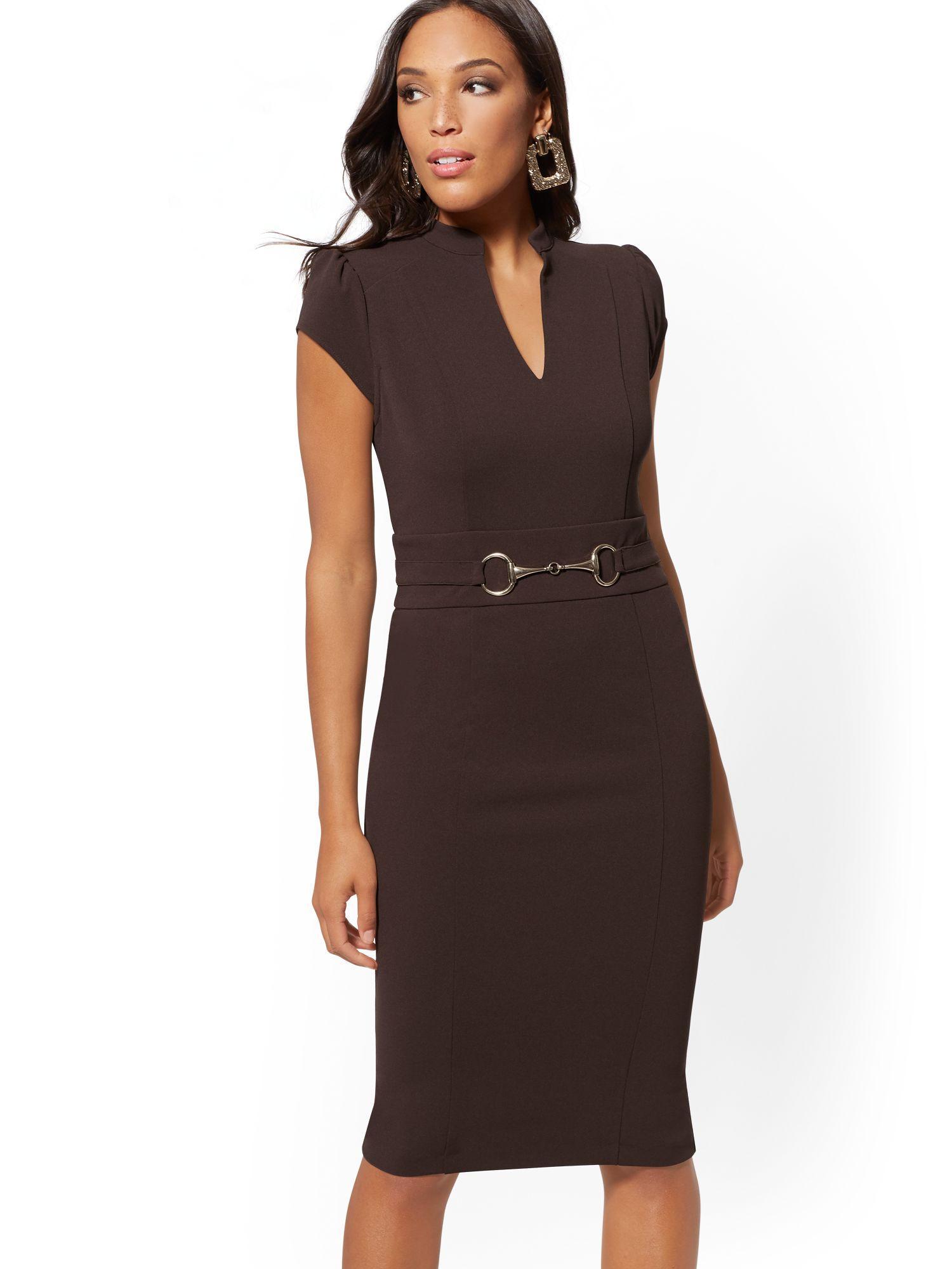 b4ec2bd76 New York & Company. Women's Brown Horsebit-accent Sheath Dress - Magic Crepe  ...