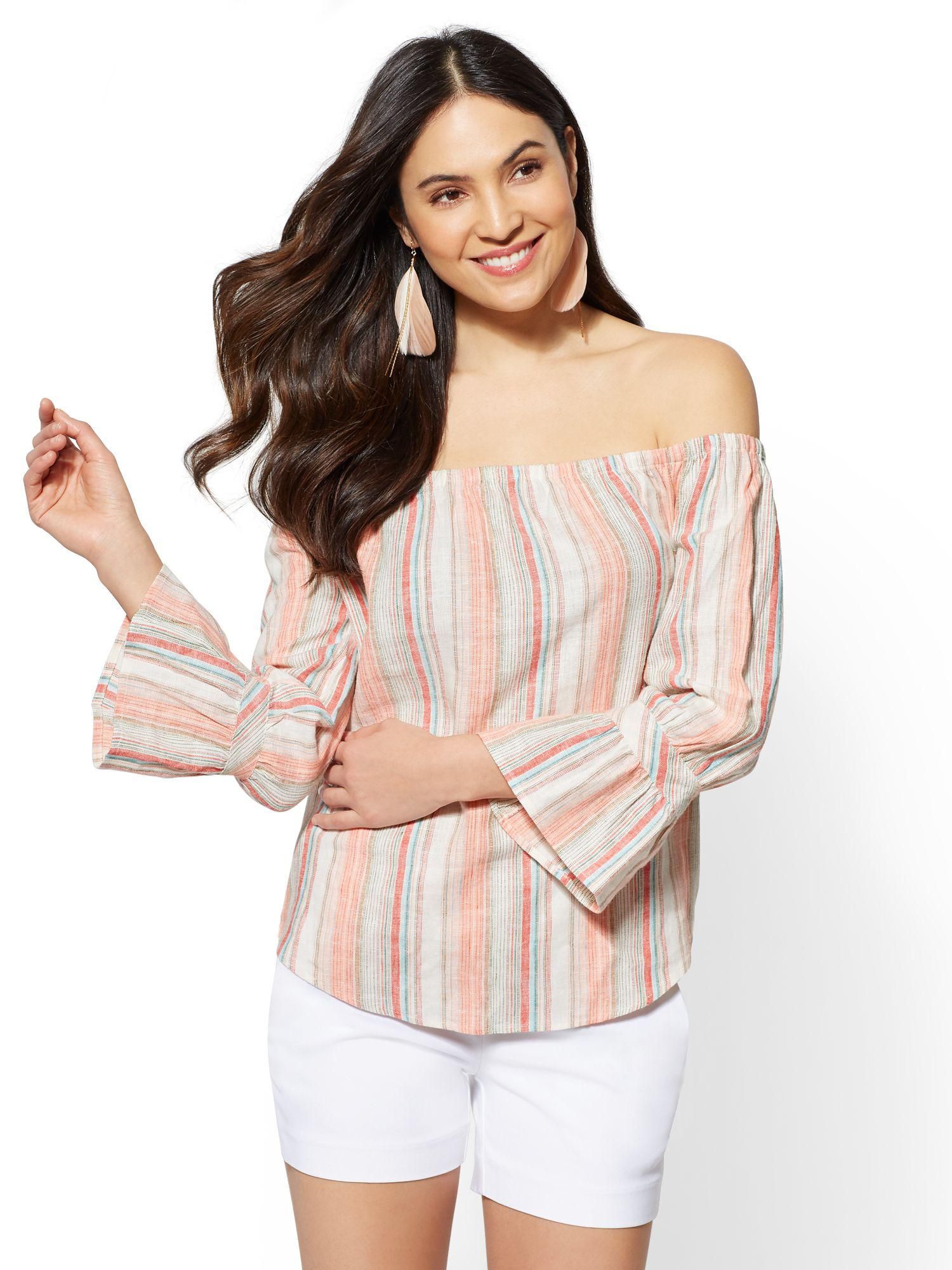 1011d173027d57 Lyst - New York & Company 7th Avenue - Striped Linen Off-the ...