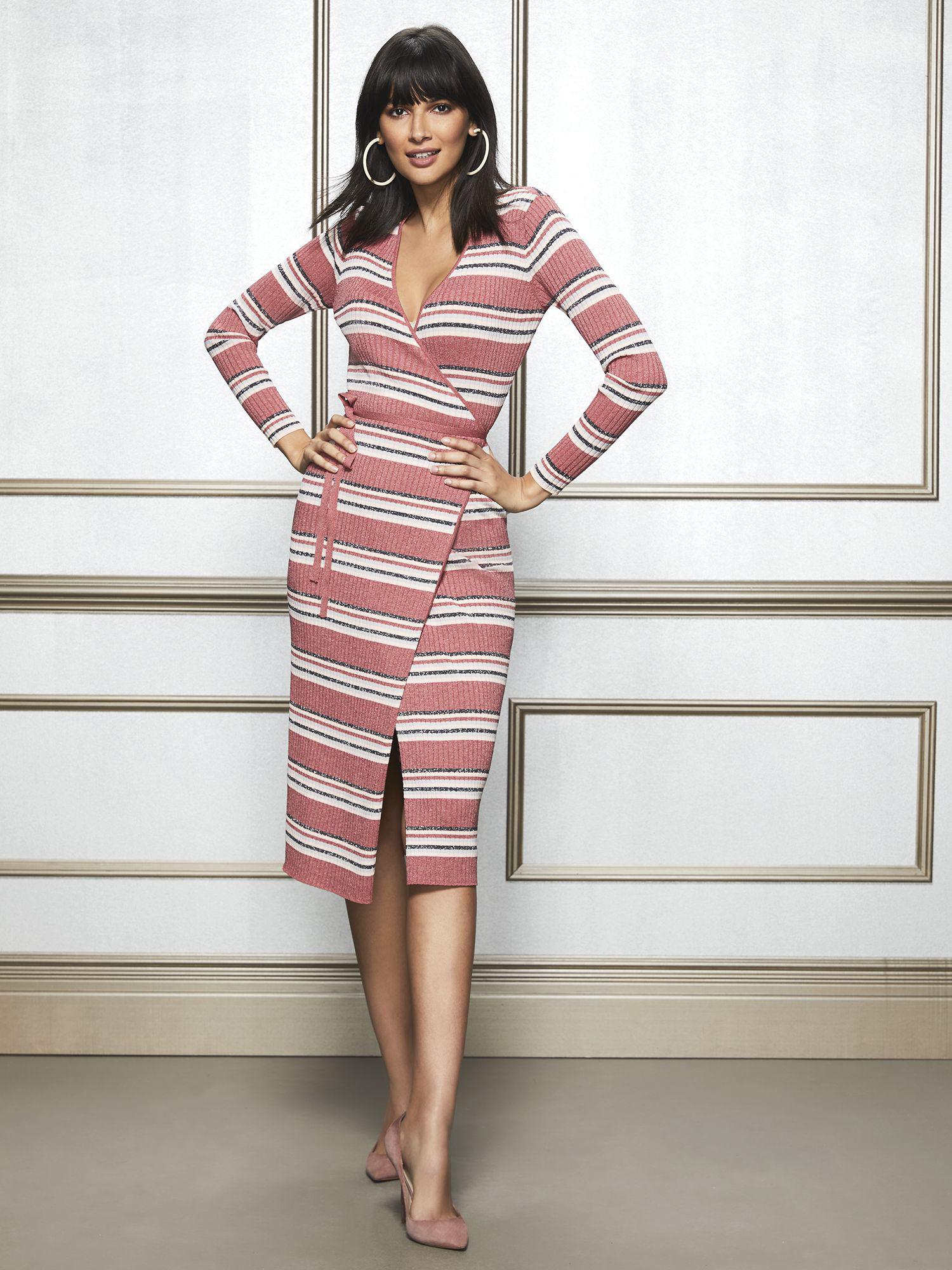 7e7ba1987b New York   Company. Women s Pink Eva Mendes Collection - Delora Metallic Stripe  Sweater Dress