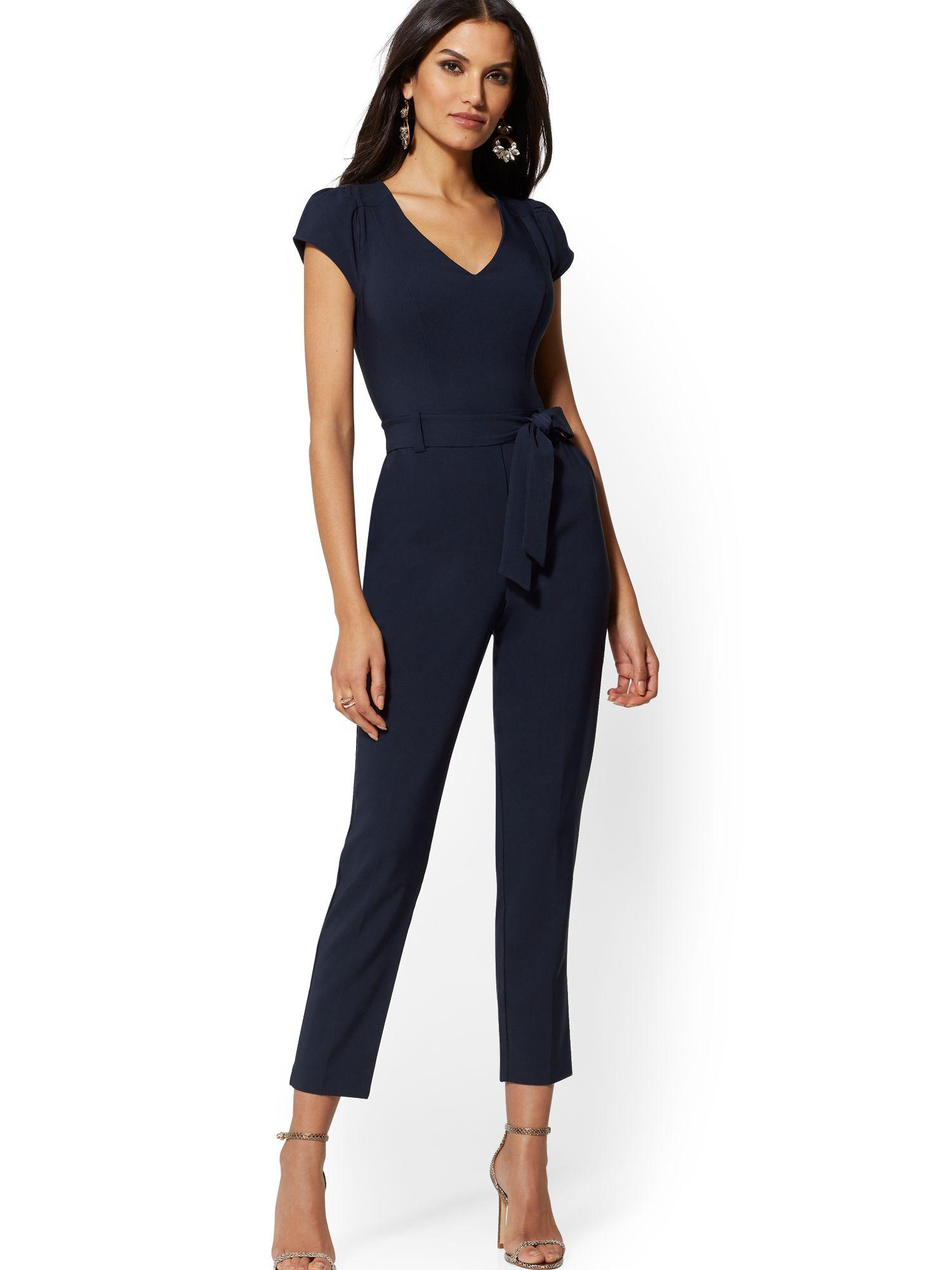 19b9c0c3bb6 Lyst - New York   Company Cap-sleeve Madie Jumpsuit - 7th Avenue in Blue