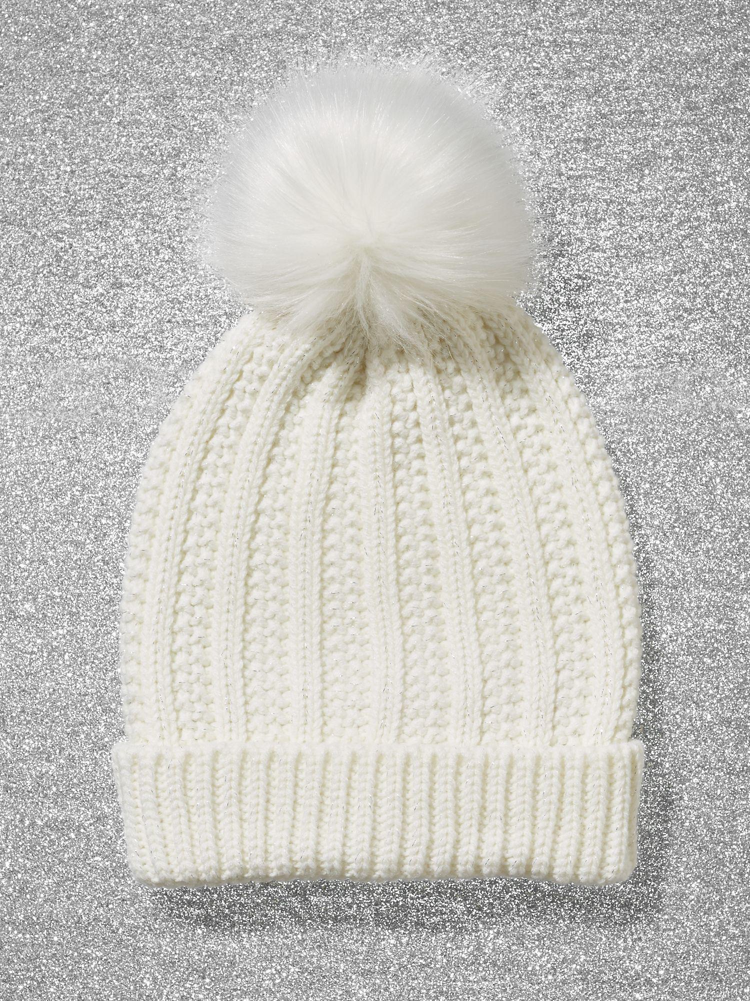 5db6b6509 New York & Company Metallic Pom-pom Trim Ribbed-knit Hat in White - Lyst