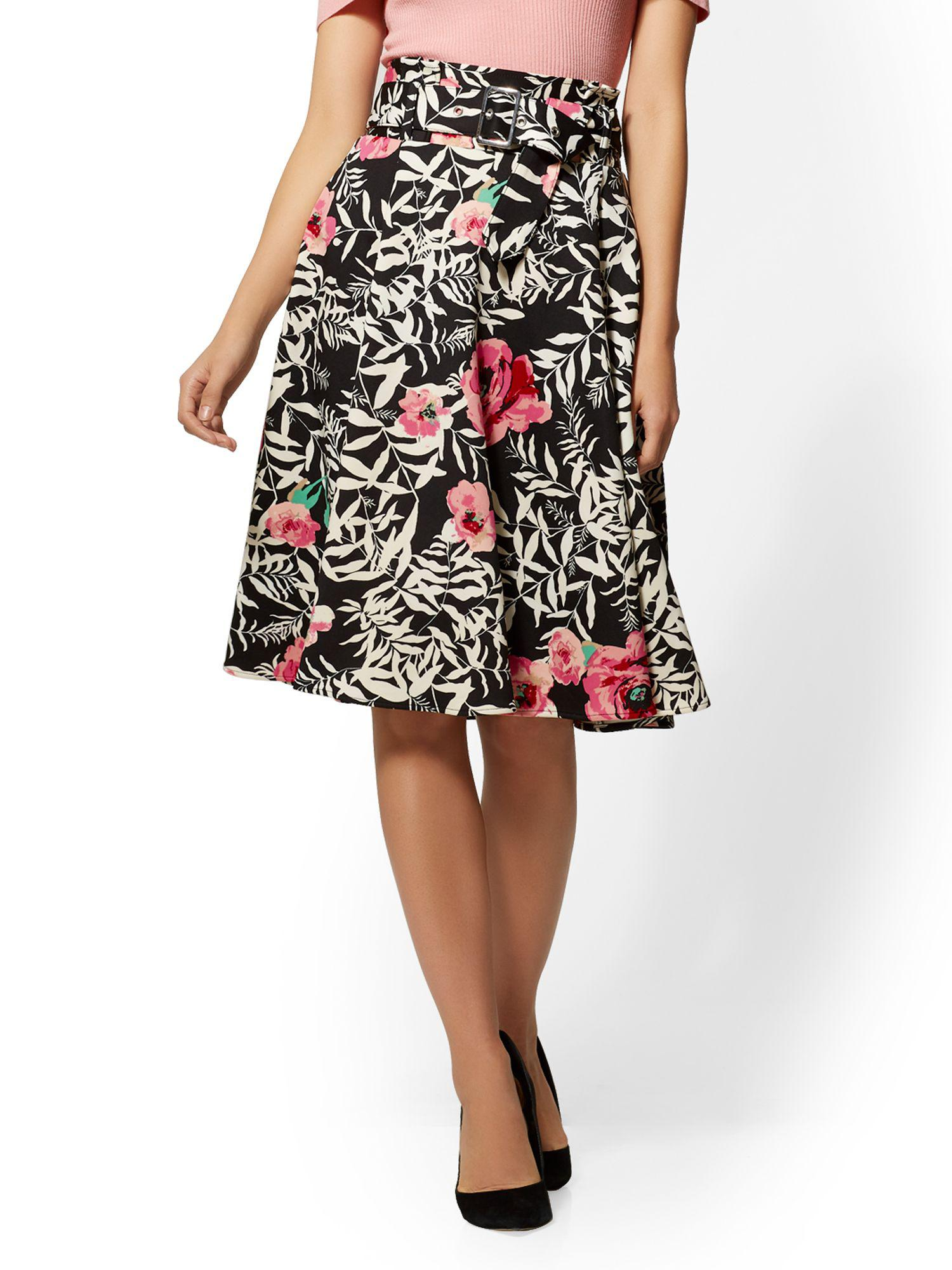 37a87e3c2020 Lyst - New York & Company 7th Avenue - Floral Paperbag-waist Full Skirt