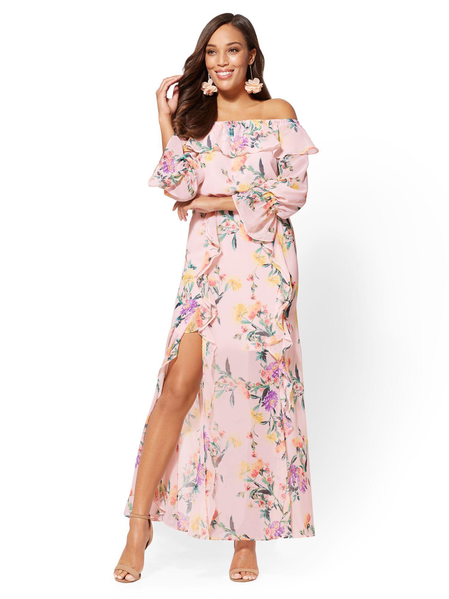 61e669606ebc Lyst - New York   Company 7th Avenue - Floral Off-the-shoulder Maxi ...