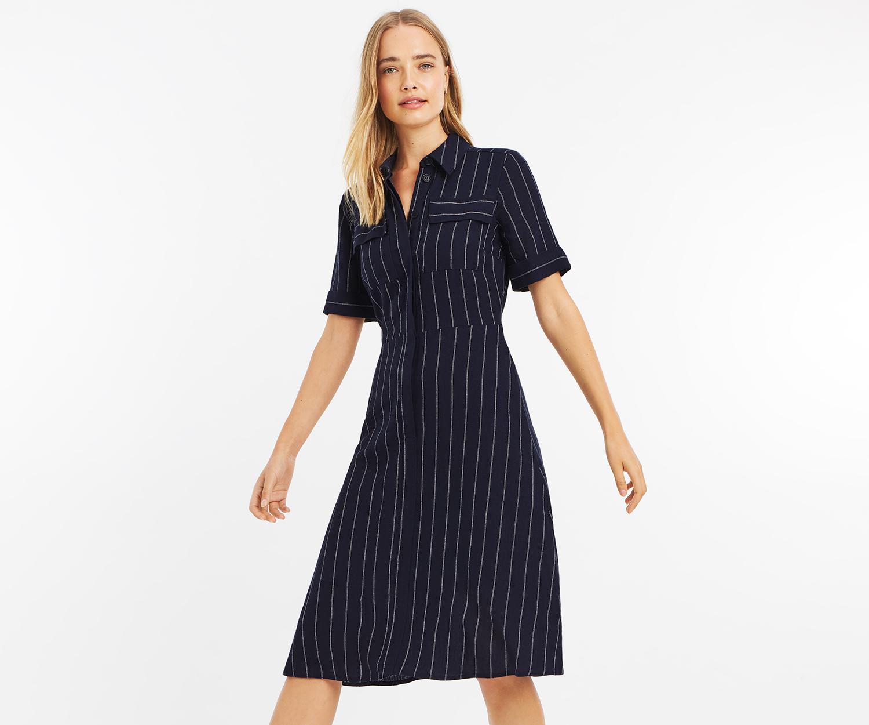 73b9feac5a2 Oasis Stripe Safari Midi Dress in Blue - Lyst