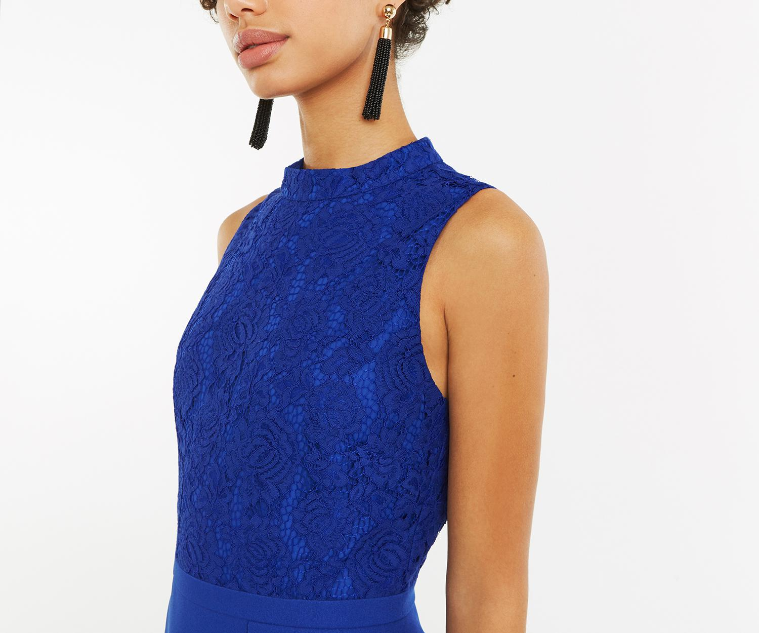 aac245710be1 Lyst - Oasis Lace Flounce Shift Dress in Blue