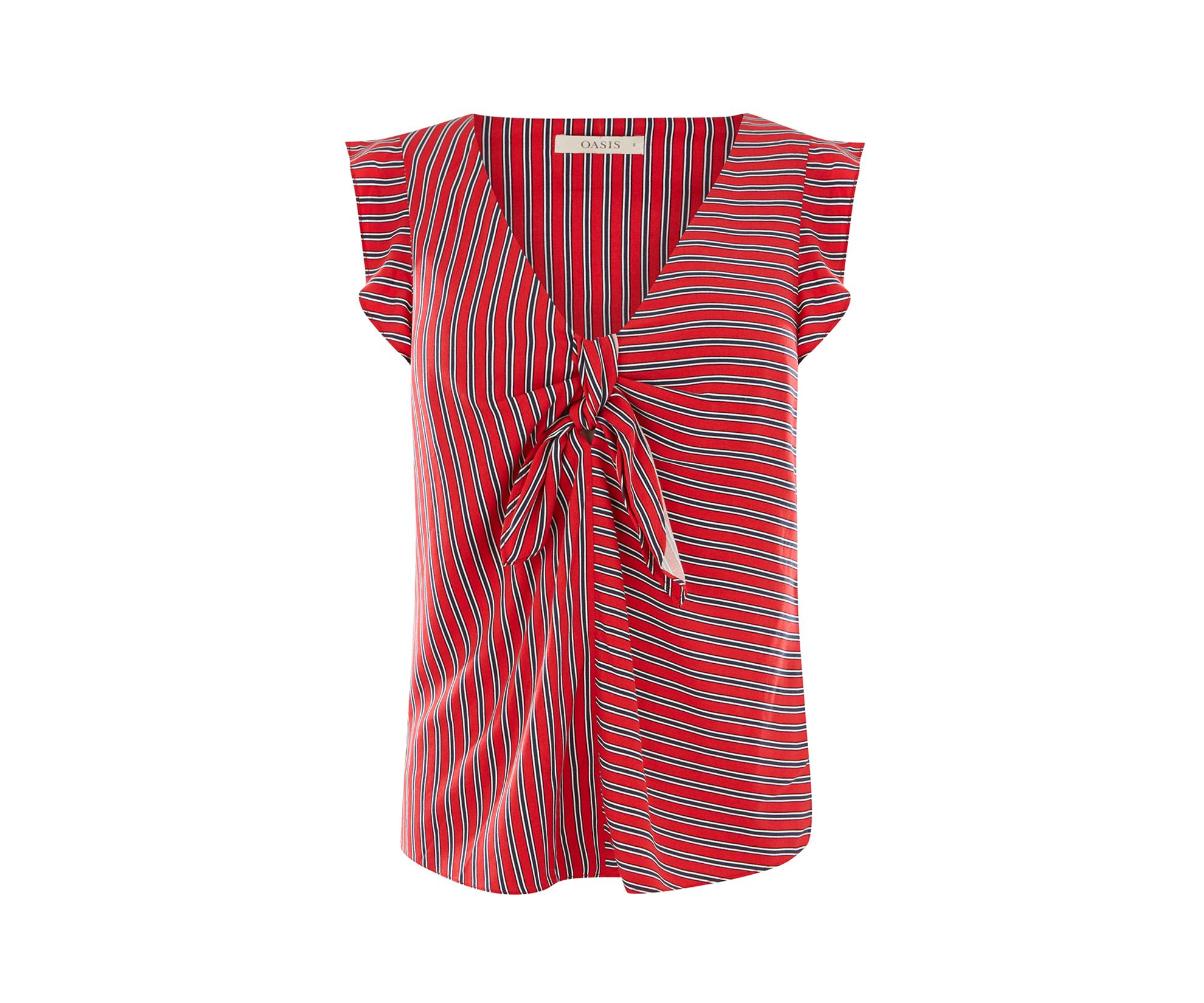 1b03e0dbb35f Oasis - Red Patched Stripe Tie Front Top - Lyst. View fullscreen
