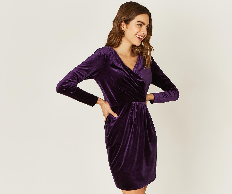 8f7ec7c542bb Oasis Velvet Romana Wrap Dress in Purple - Lyst