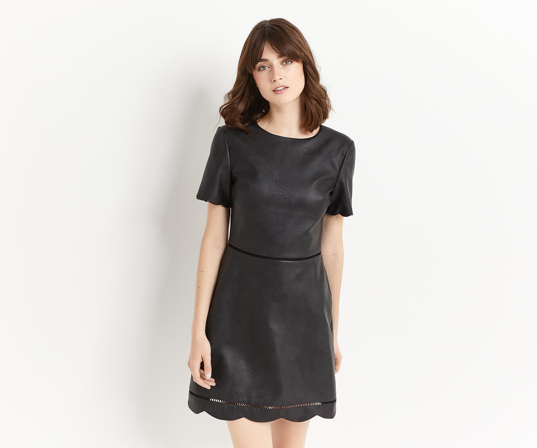 571ecd55ed5d Oasis Faux Leather Scallop Dress in Black - Lyst