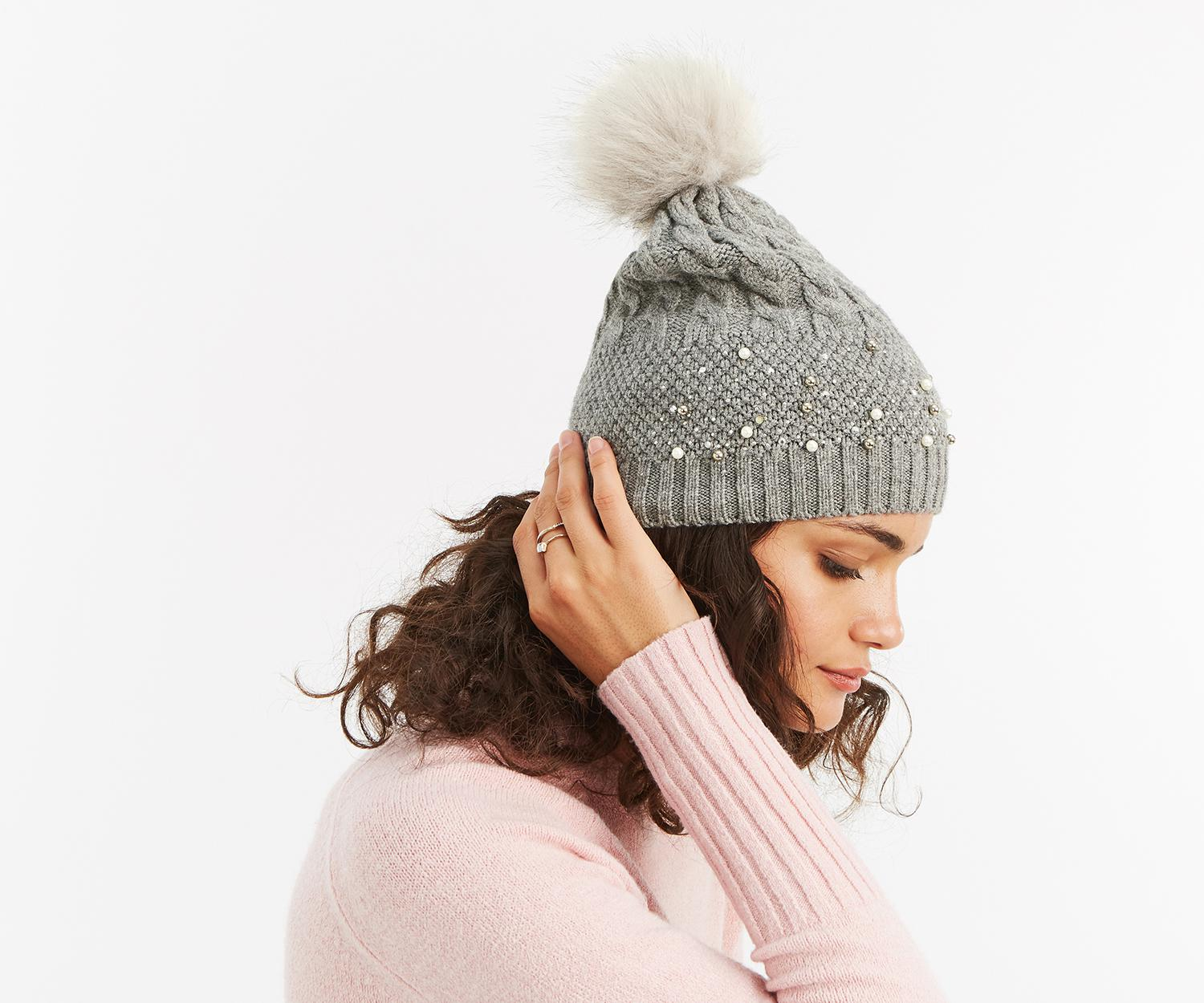 f4a8f85eb00f61 Oasis Cable Knit Pearl Beanie in Gray - Lyst