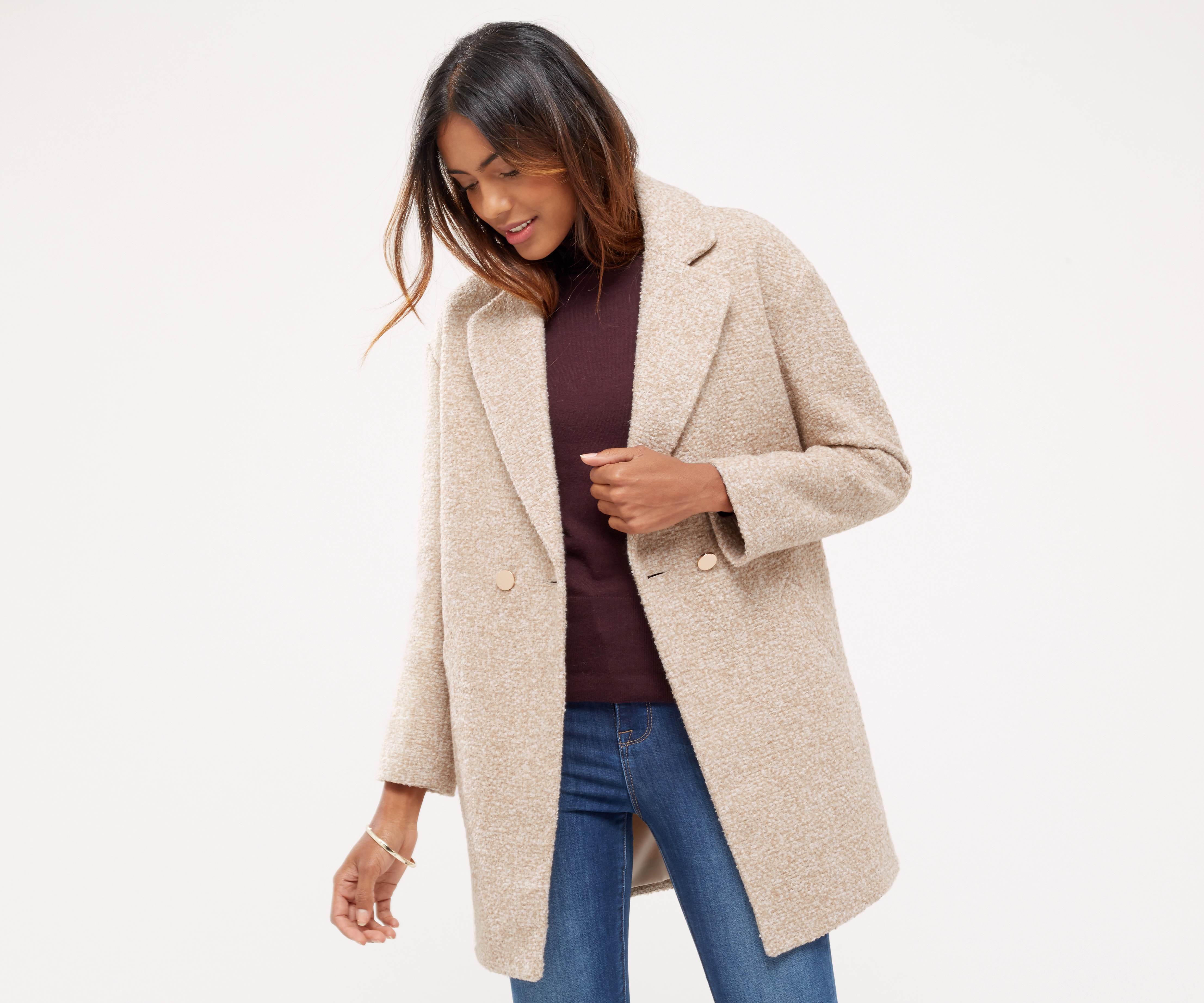 Oasis Nicole Cocoon Coat Light Neutral In Blue Lyst