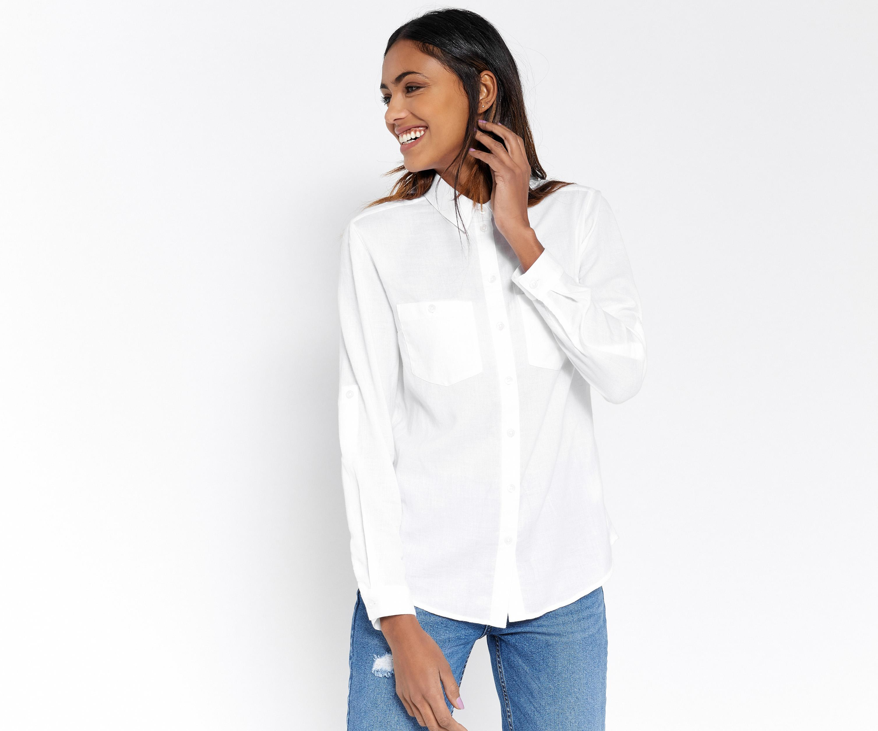 Lyst oasis utility soft cotton shirt in white for Soft cotton dress shirts