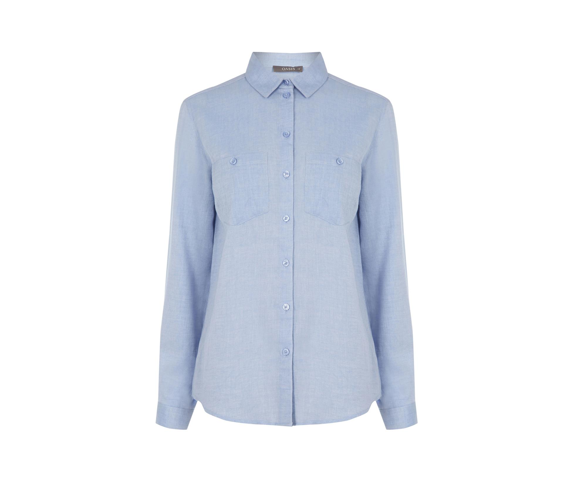 Lyst oasis utility soft cotton shirt in blue for Soft cotton dress shirts