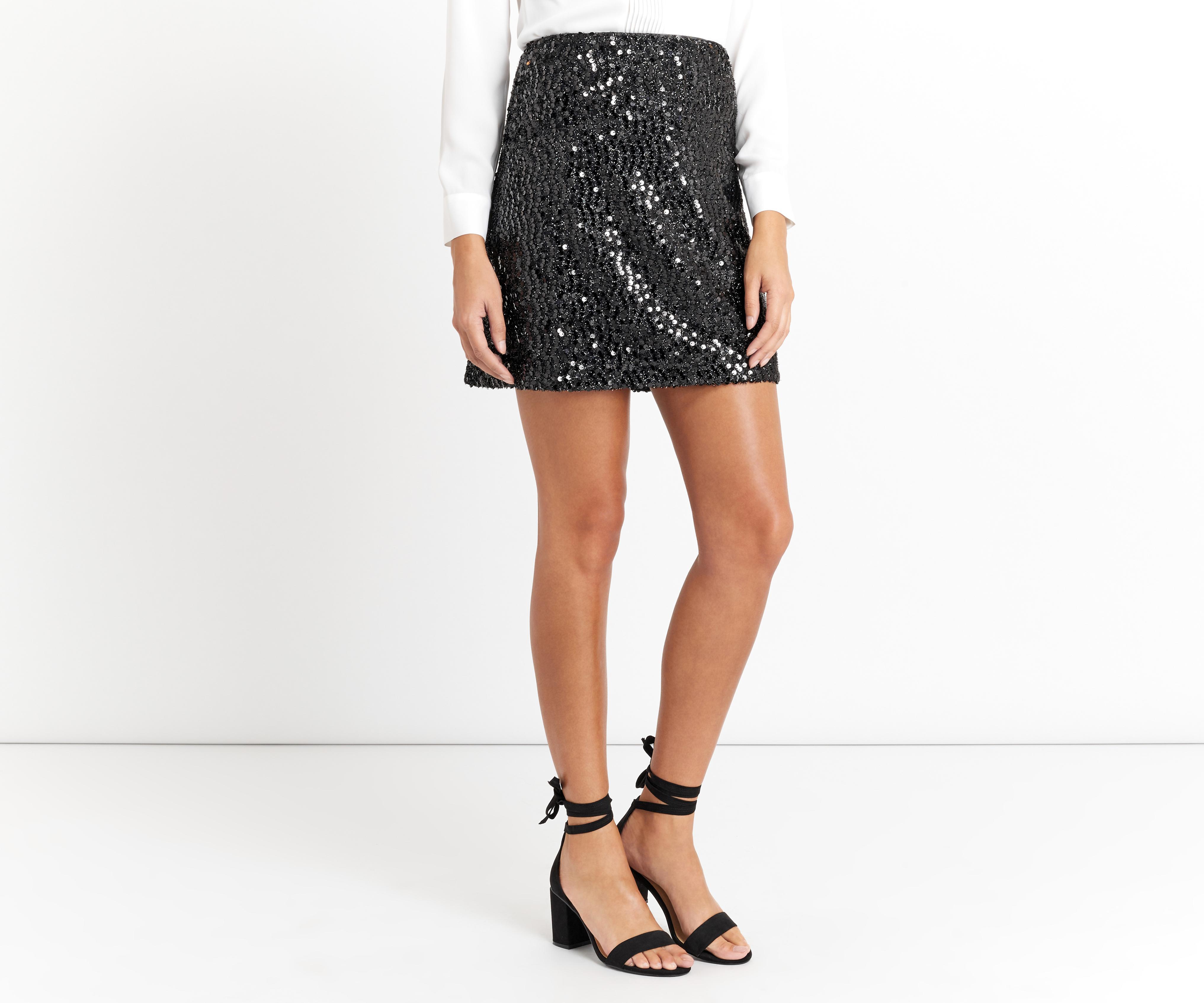 883e2e820e9 Lyst - Oasis Sequin Tinsel Skirt - Black in Black